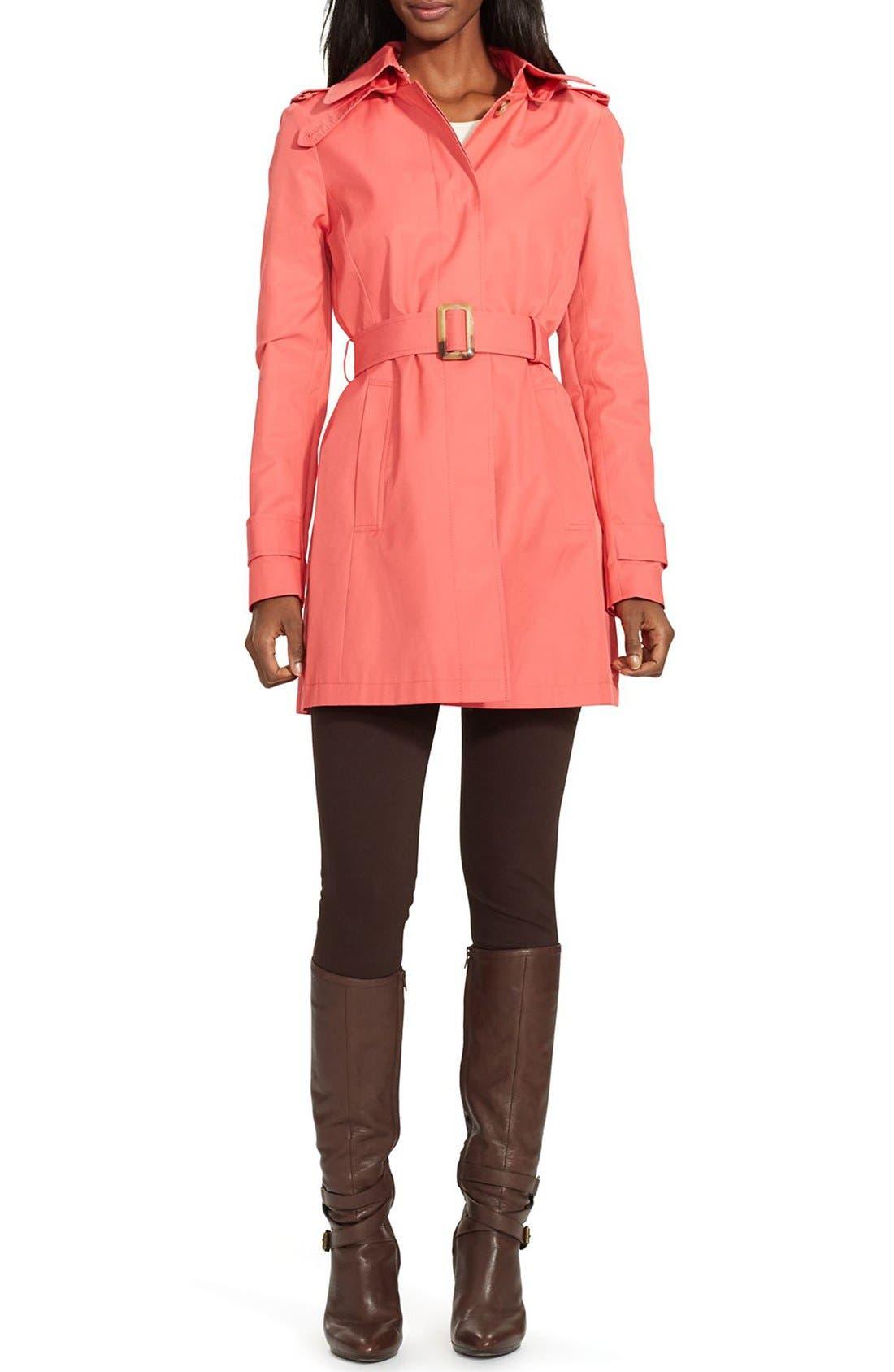 Alternate Image 1 Selected - Lauren Ralph Lauren Belted Hooded Raincoat