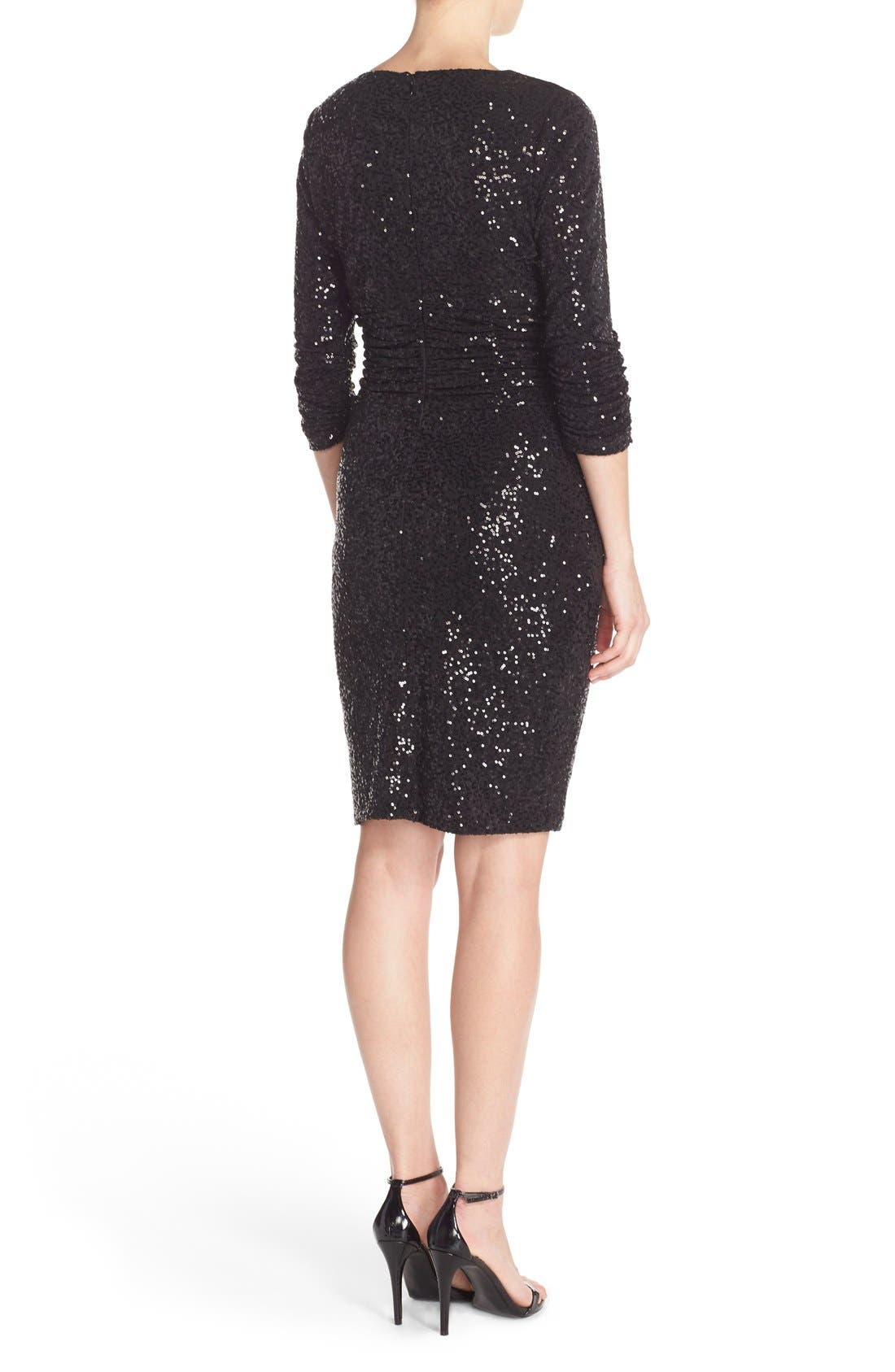 Alternate Image 2  - Nue by Shani Ruched Sequin Sheath Dress