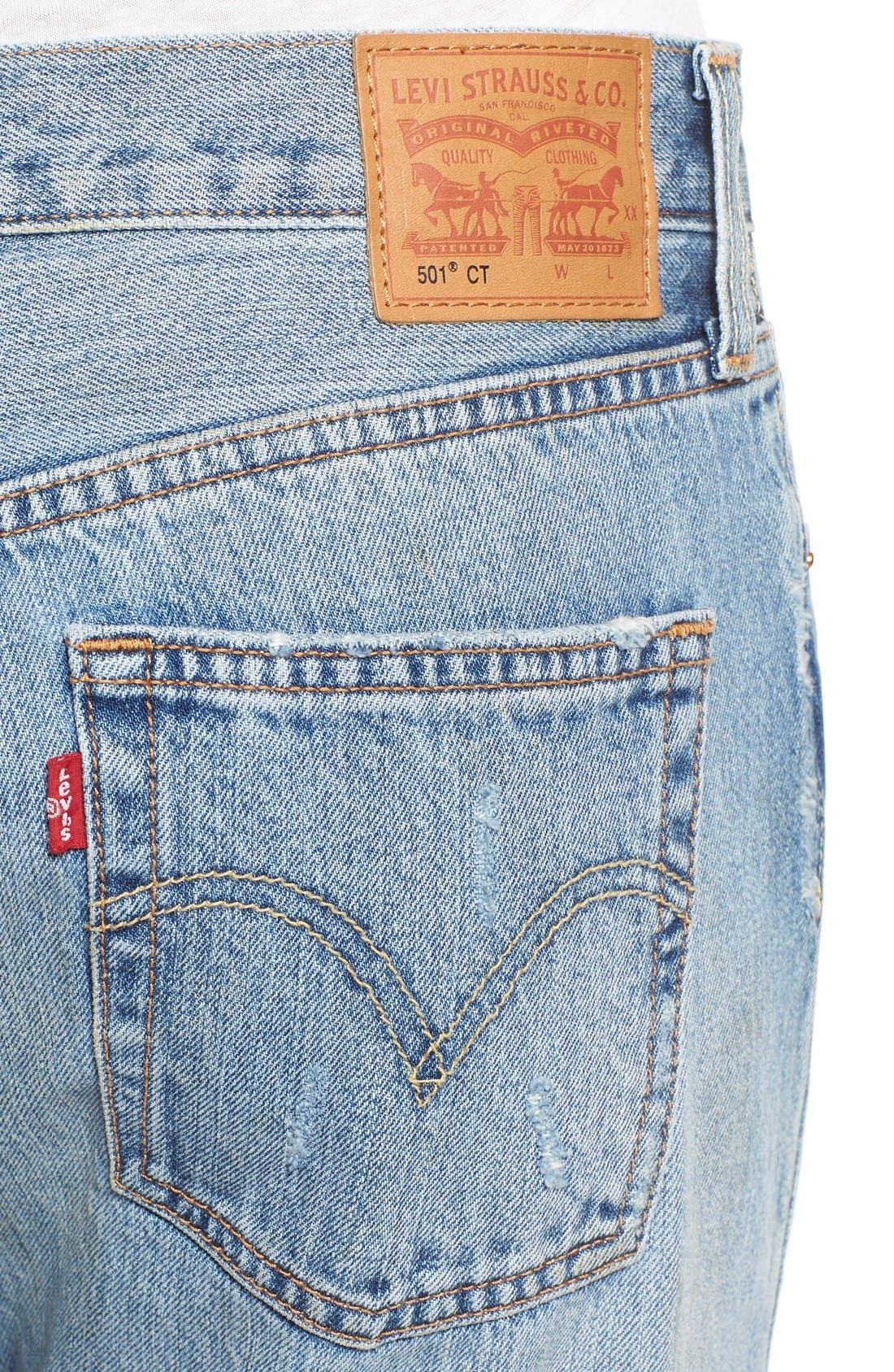 Alternate Image 4  - Levi's® '501 CT' Crop Distressed Boyfriend Jeans (Time Gone By)