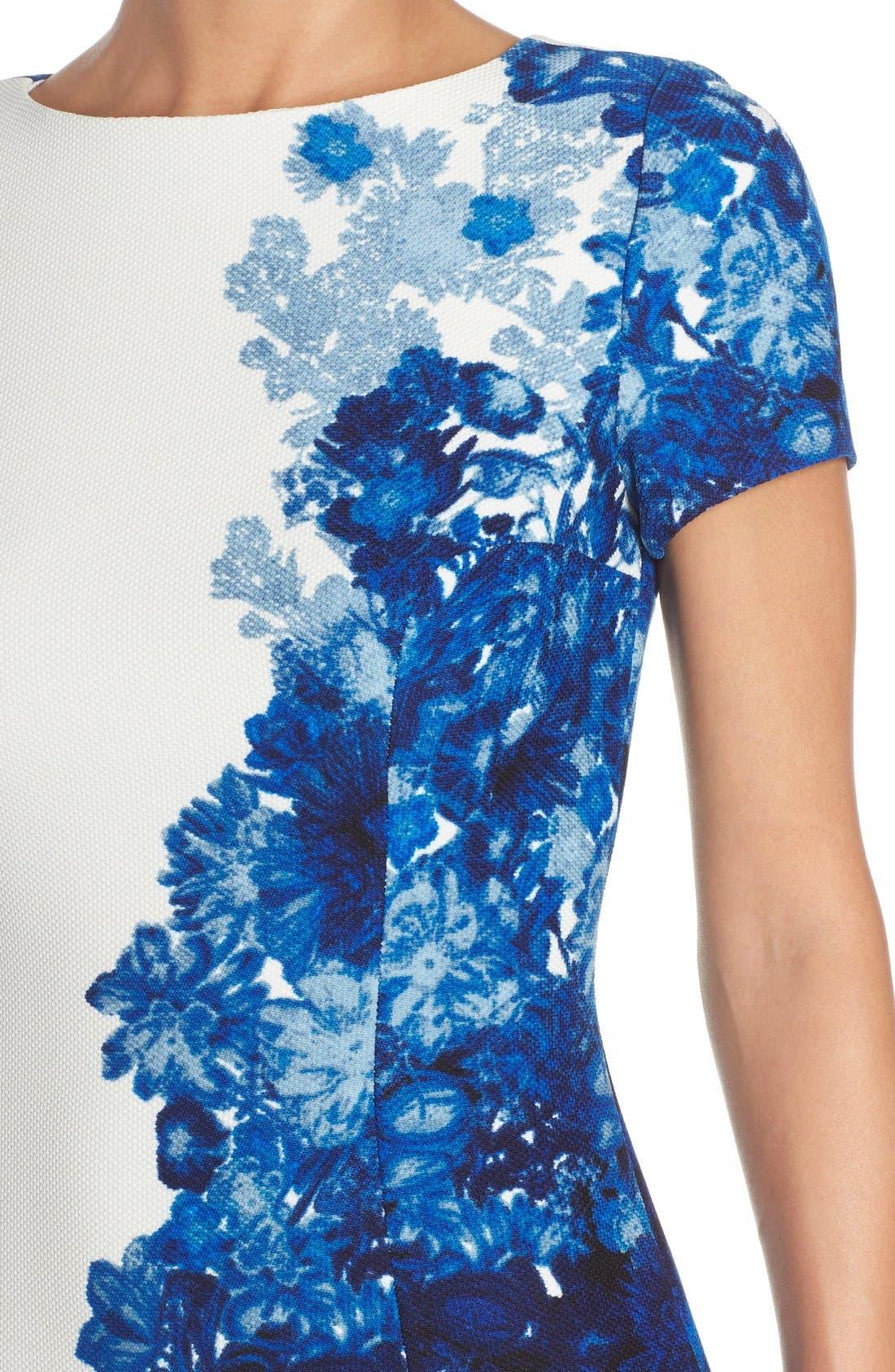 Alternate Image 5  - Adrianna Papell Floral Print Waffle Piqué Sheath Dress (Regualr & Petite)