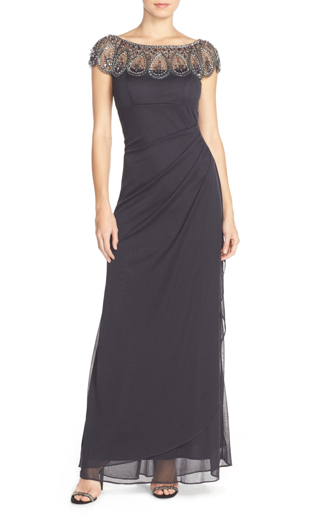 XSCAPE Ruched Jersey Gown