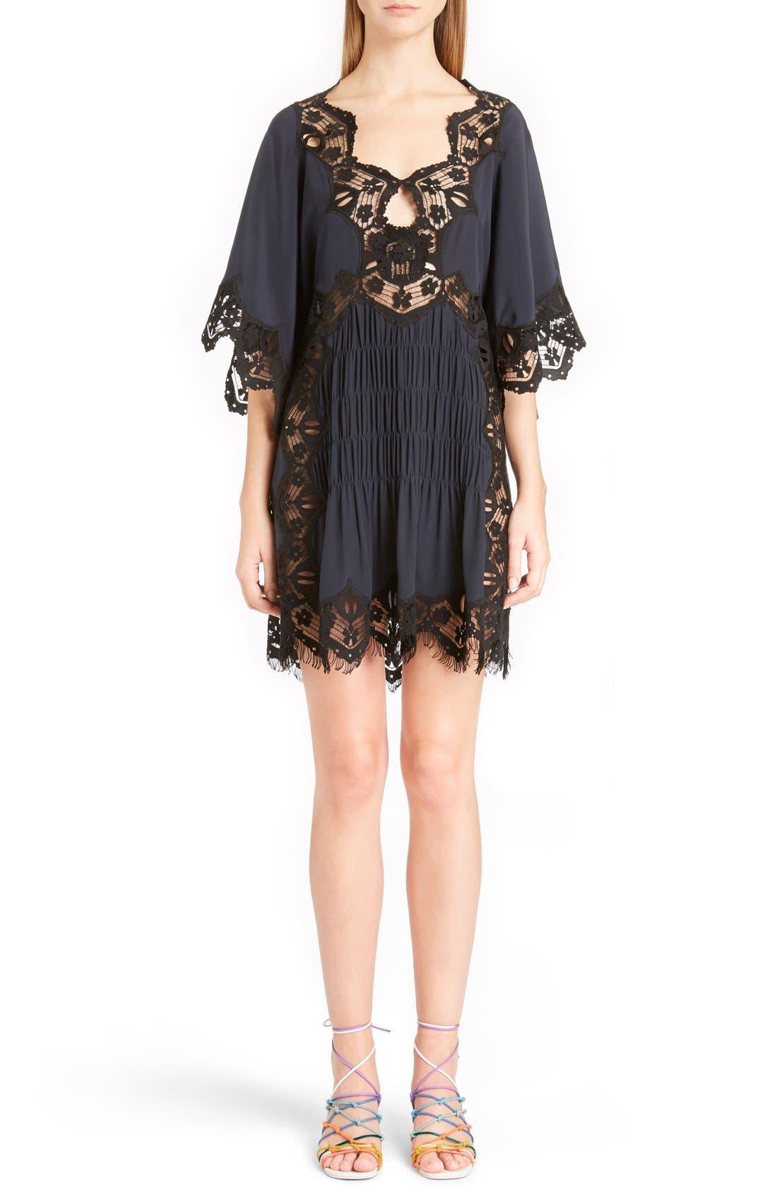 Main Image - Chloé Smocked Scalloped Lace Trim Silk Dress