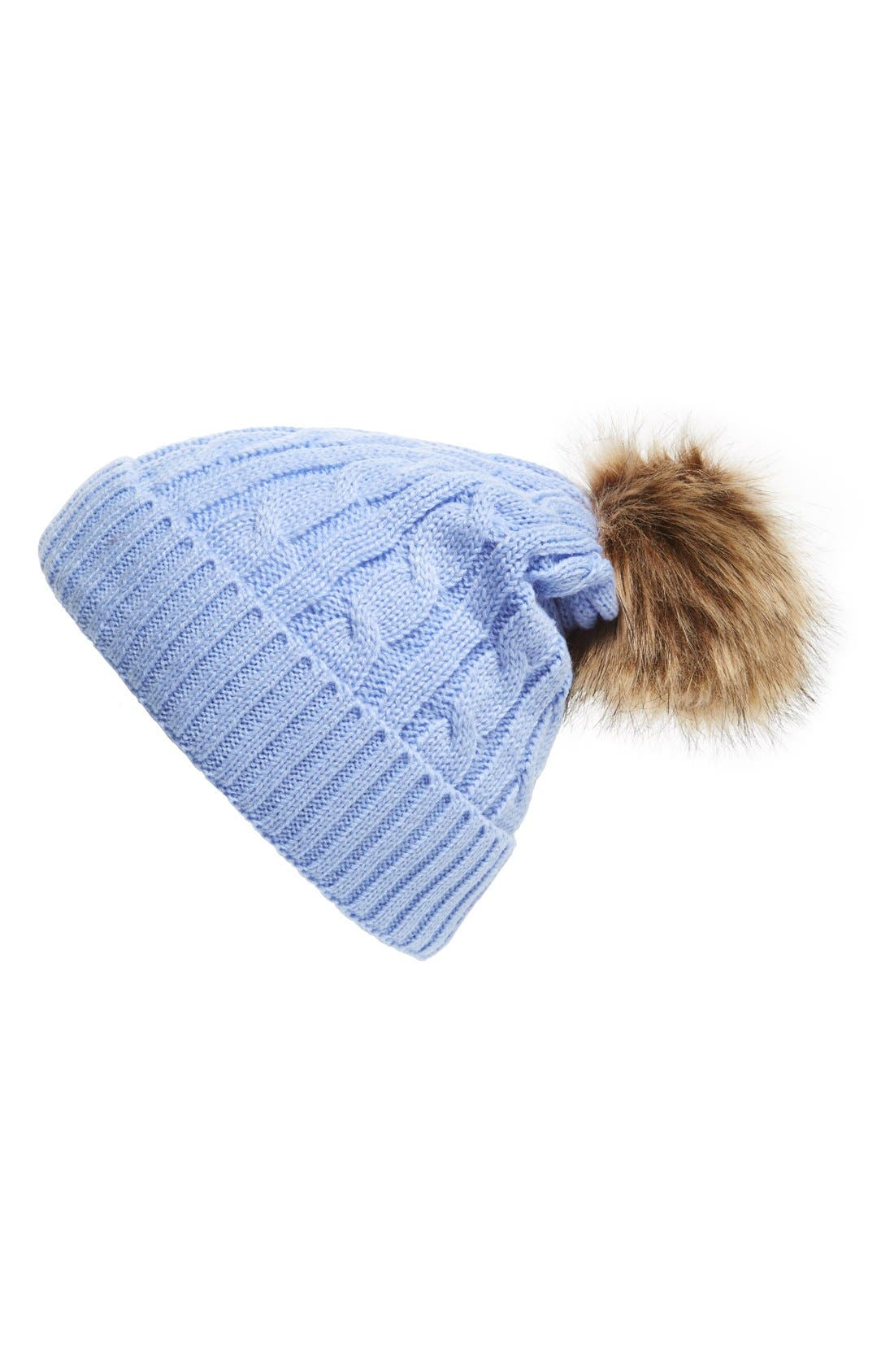 Main Image - Amici Accessories Cable Faux Fur Pompom Beanie