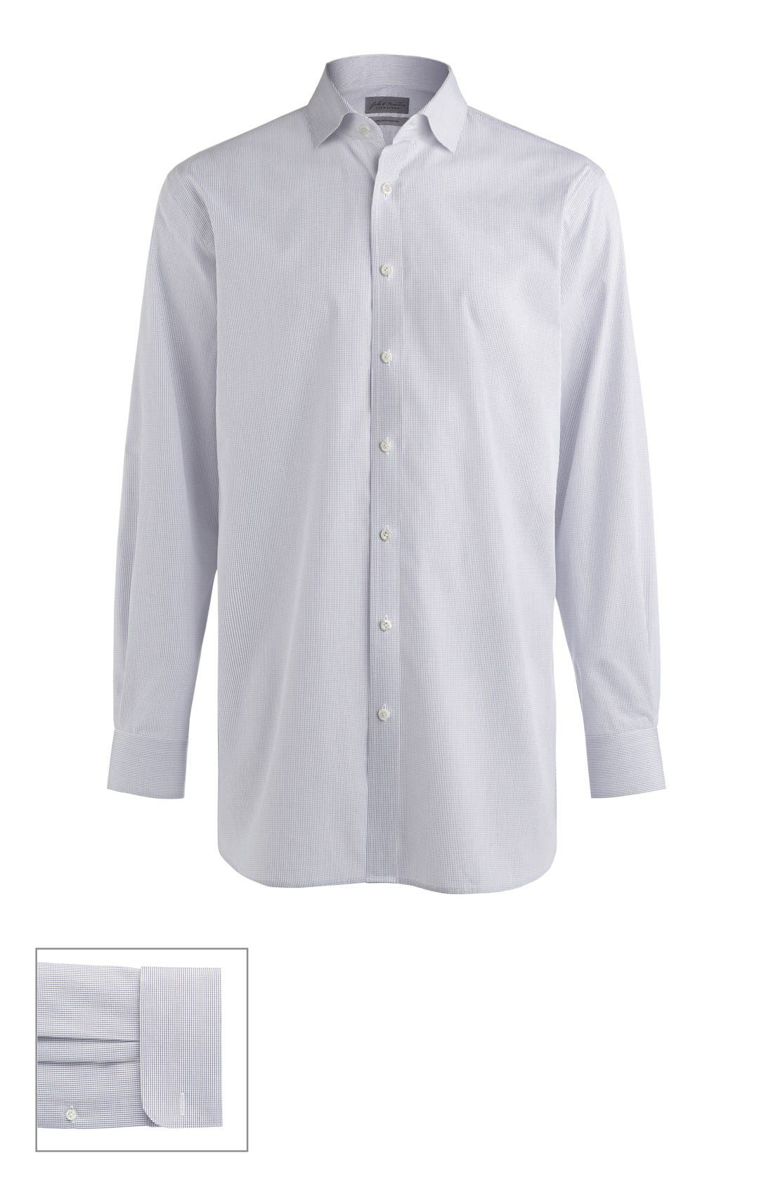 John W. Nordstrom® Made to Measure Traditional Fit Spread Collar Check Dress Shirt