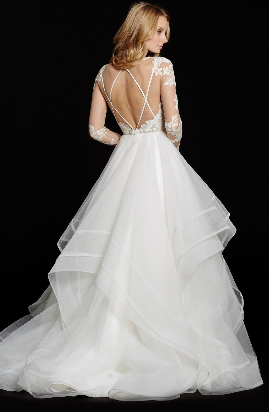 Alternate Image 2  - Hayley Paige 'Elysia' Long Sleeve Lace & Tulle Ballgown (In Stores Only)