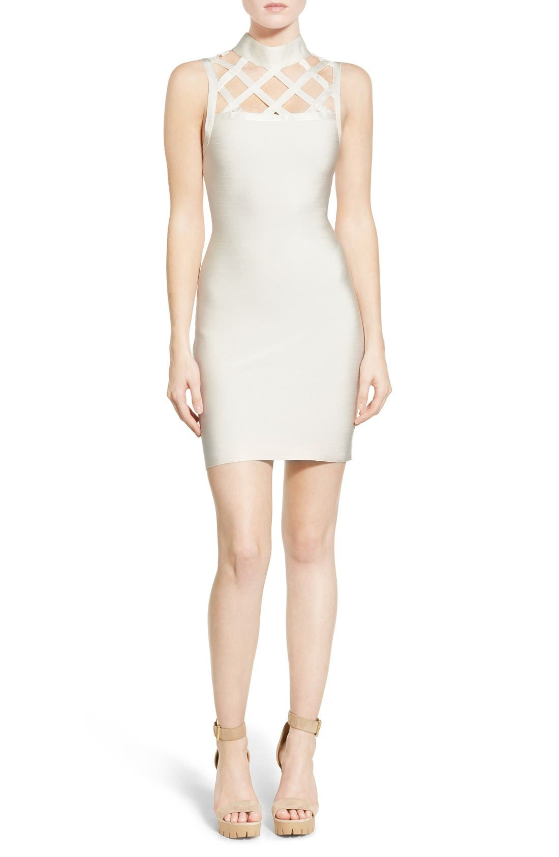 Alternate Image 1 Selected - Missguided Grid Yoke Body-Con Dress