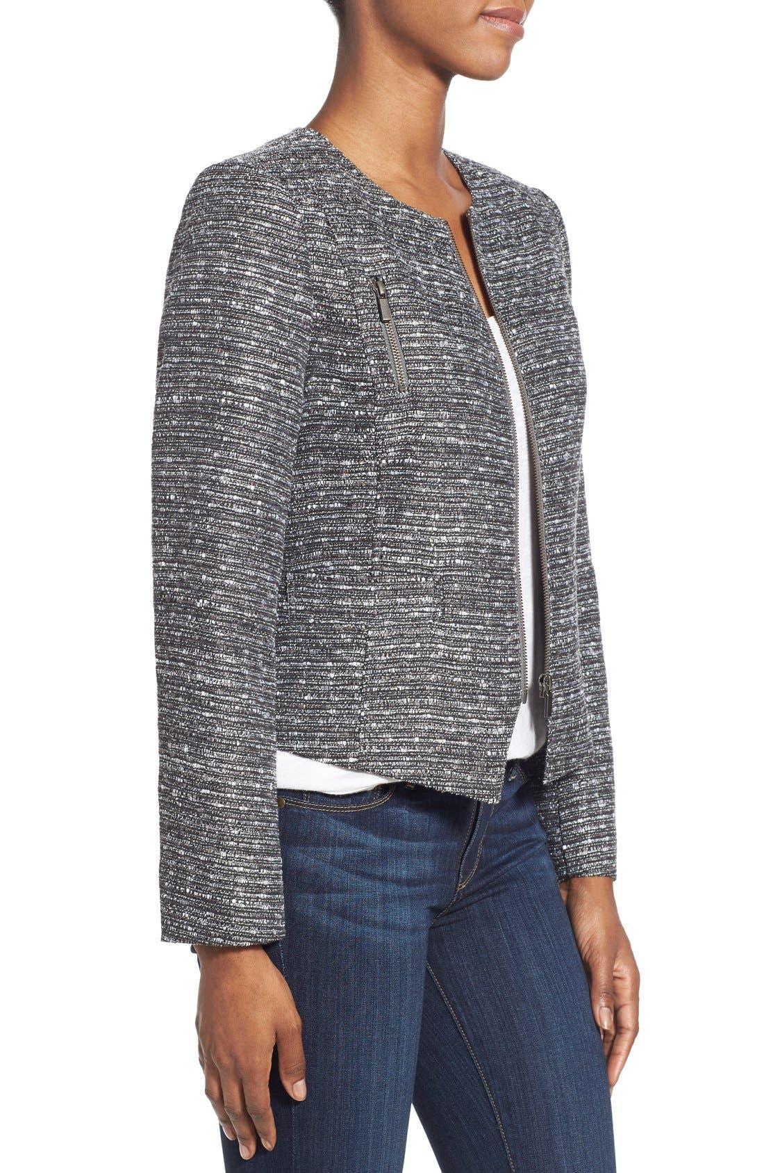 Alternate Image 3  - Halogen® Zip Front Tweed Jacket (Regular & Petite)