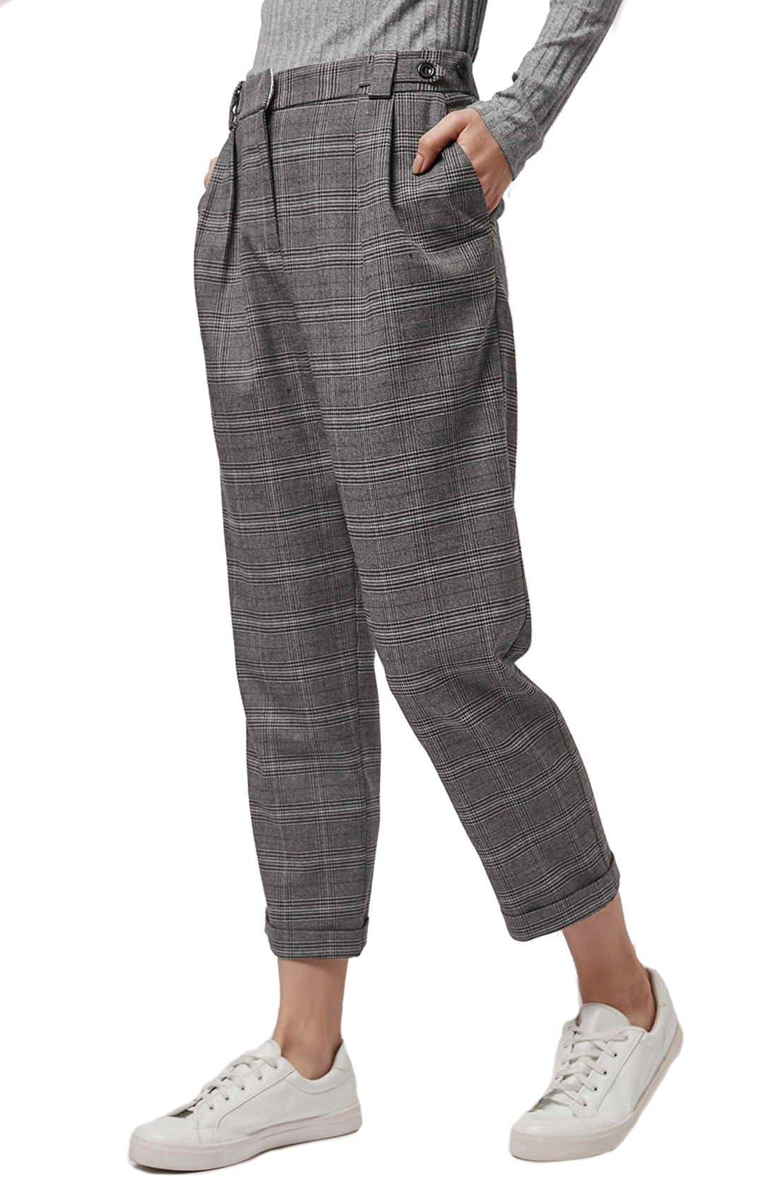 Main Image - Topshop Check Crop Pants