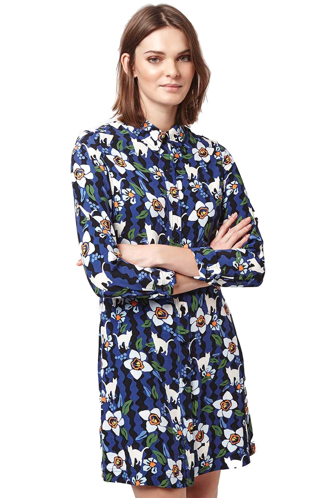Alternate Image 3  - Topshop Kitten Floral Shirtdress (Regular & Petite)
