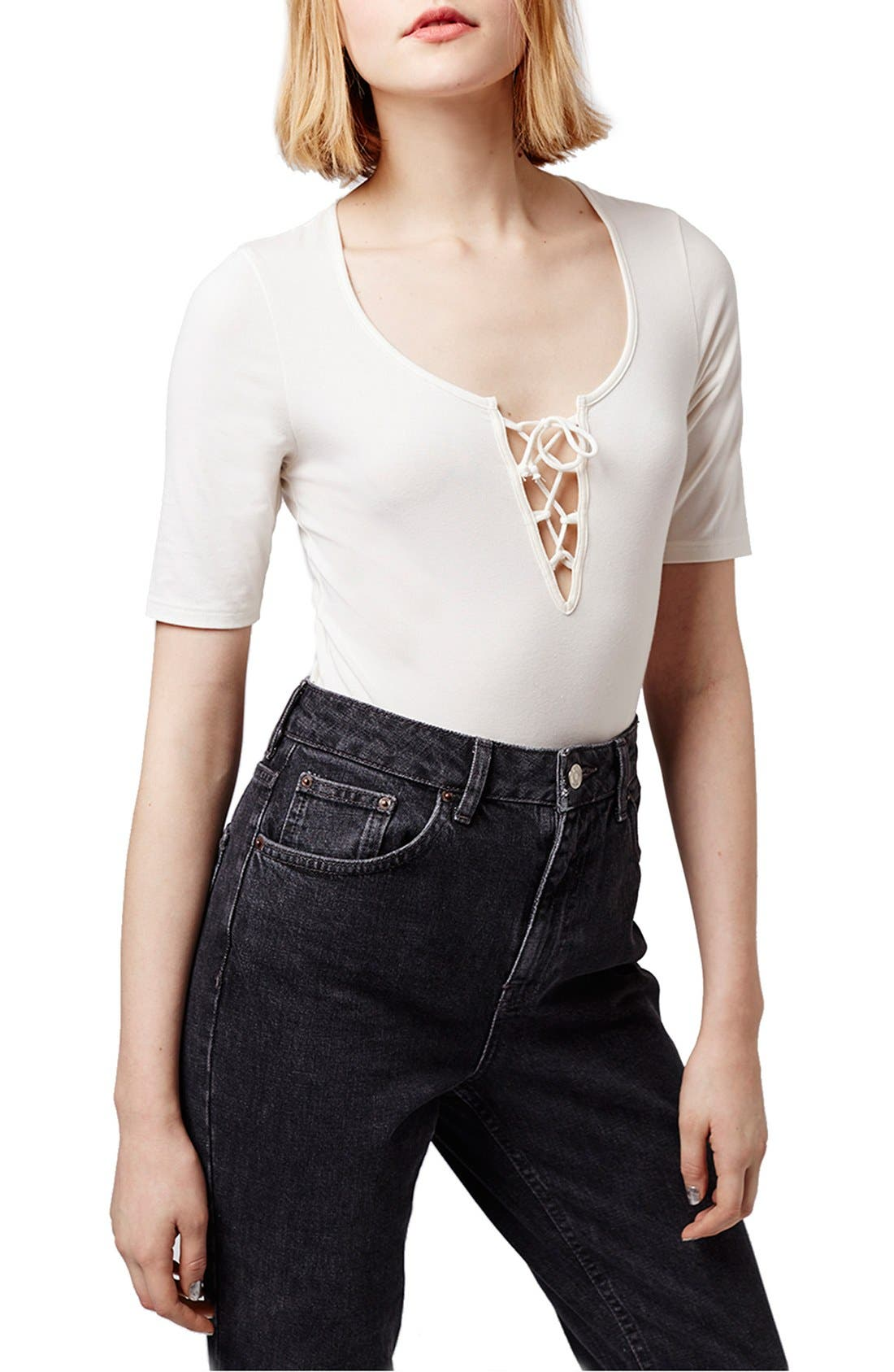 Alternate Image 1 Selected - Topshop Lace-Up Bodysuit
