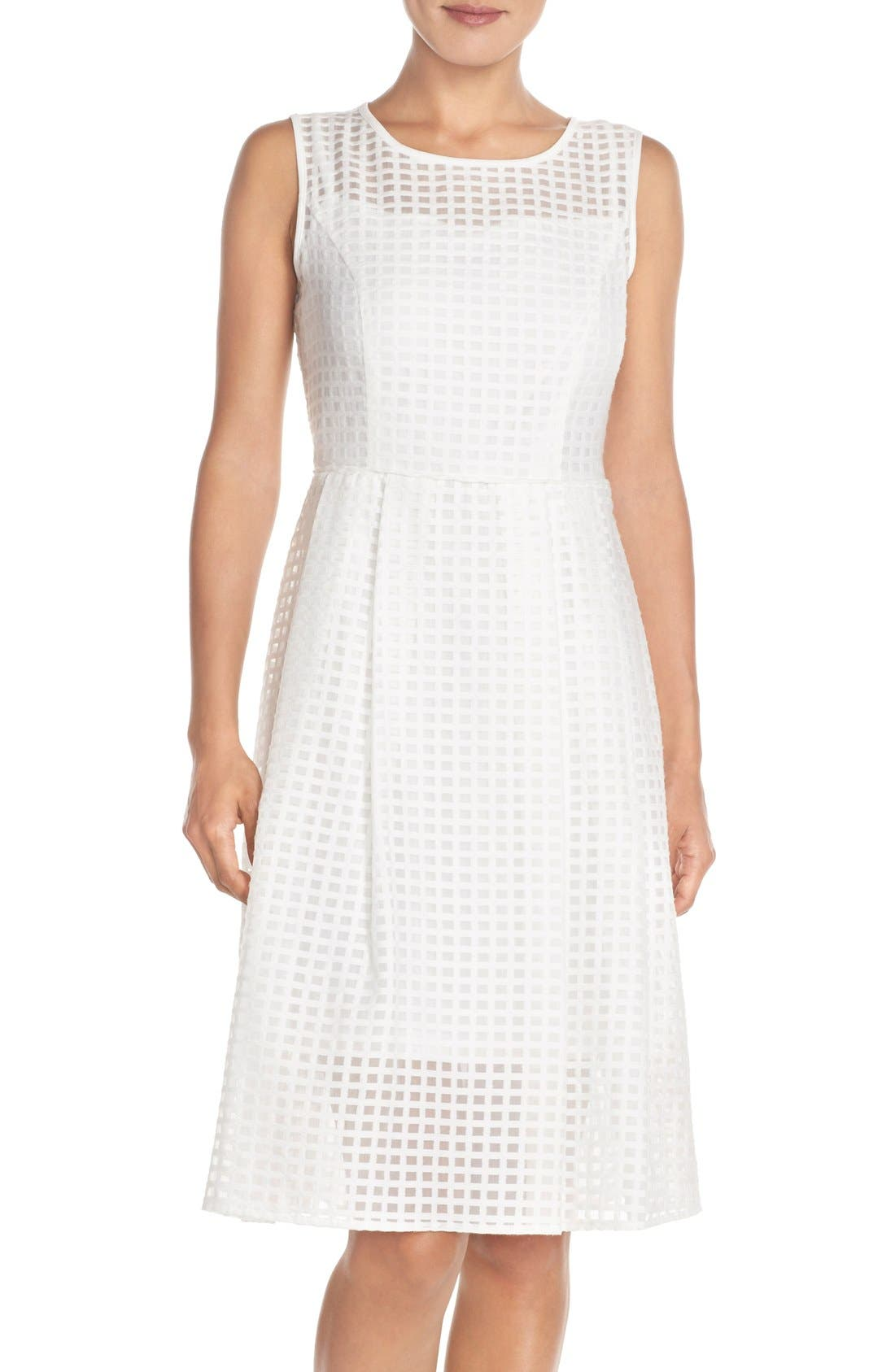 Ellen Tracy Windowpane Organza Fit & Flare Dress (Regular & Petite)
