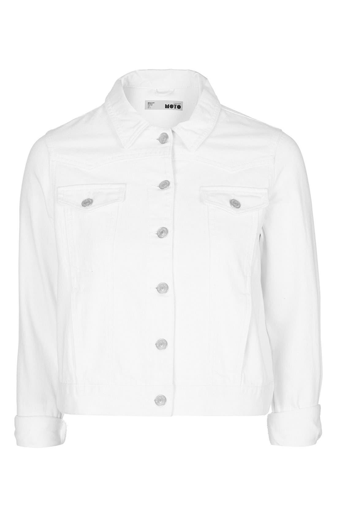 Alternate Image 4  - Topshop Moto 'Tilda' Washed Denim Jacket (White)