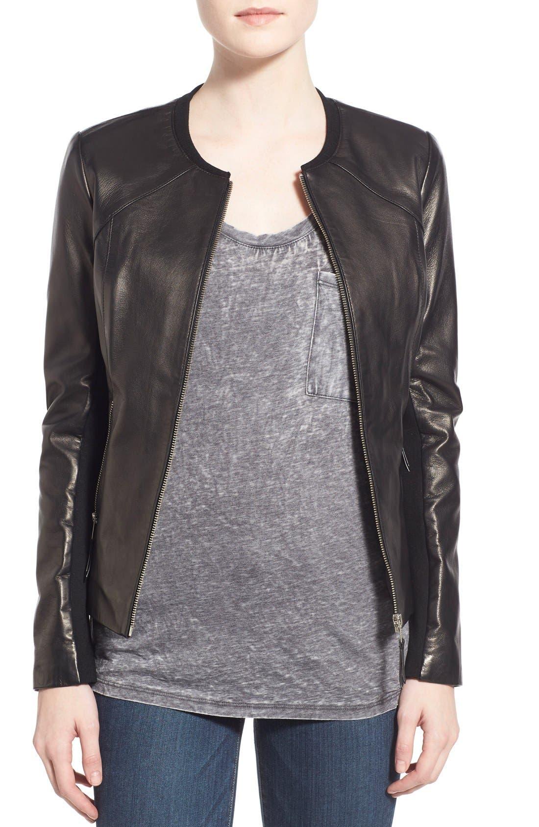 Alternate Image 4  - Soia & Kyo Slim Fit Zip Front Leather Jacket