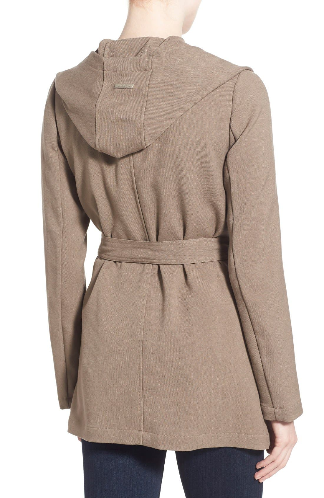 Alternate Image 2  - Soia & Kyo Hip Length Drapey Hooded Wrap Coat