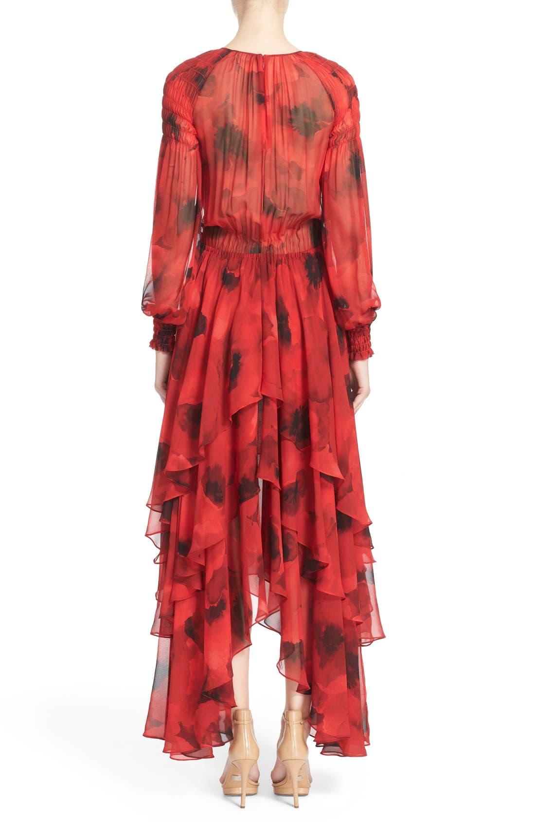 Alternate Image 2  - Michael Kors Poppy Print Tiered Silk Peasant Dress