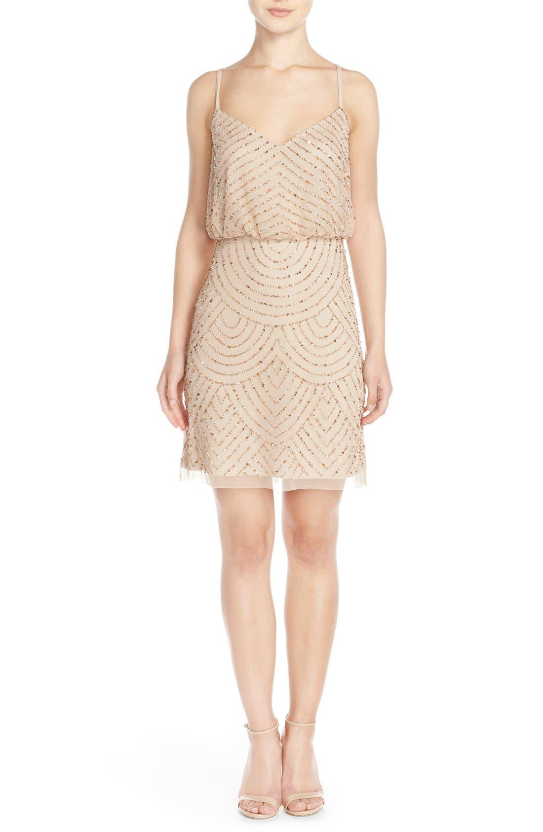 Alternate Image 5  - Adrianna Papell Sequin Mesh Blouson Dress