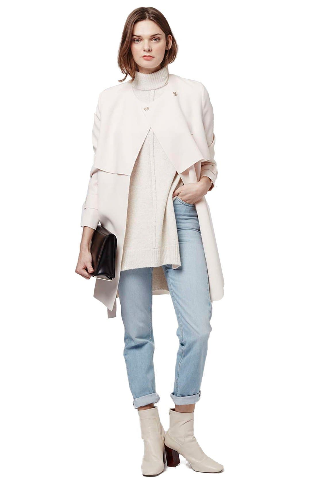 Alternate Image 2  - Topshop 'Putty' Raw Edge Belted Coat