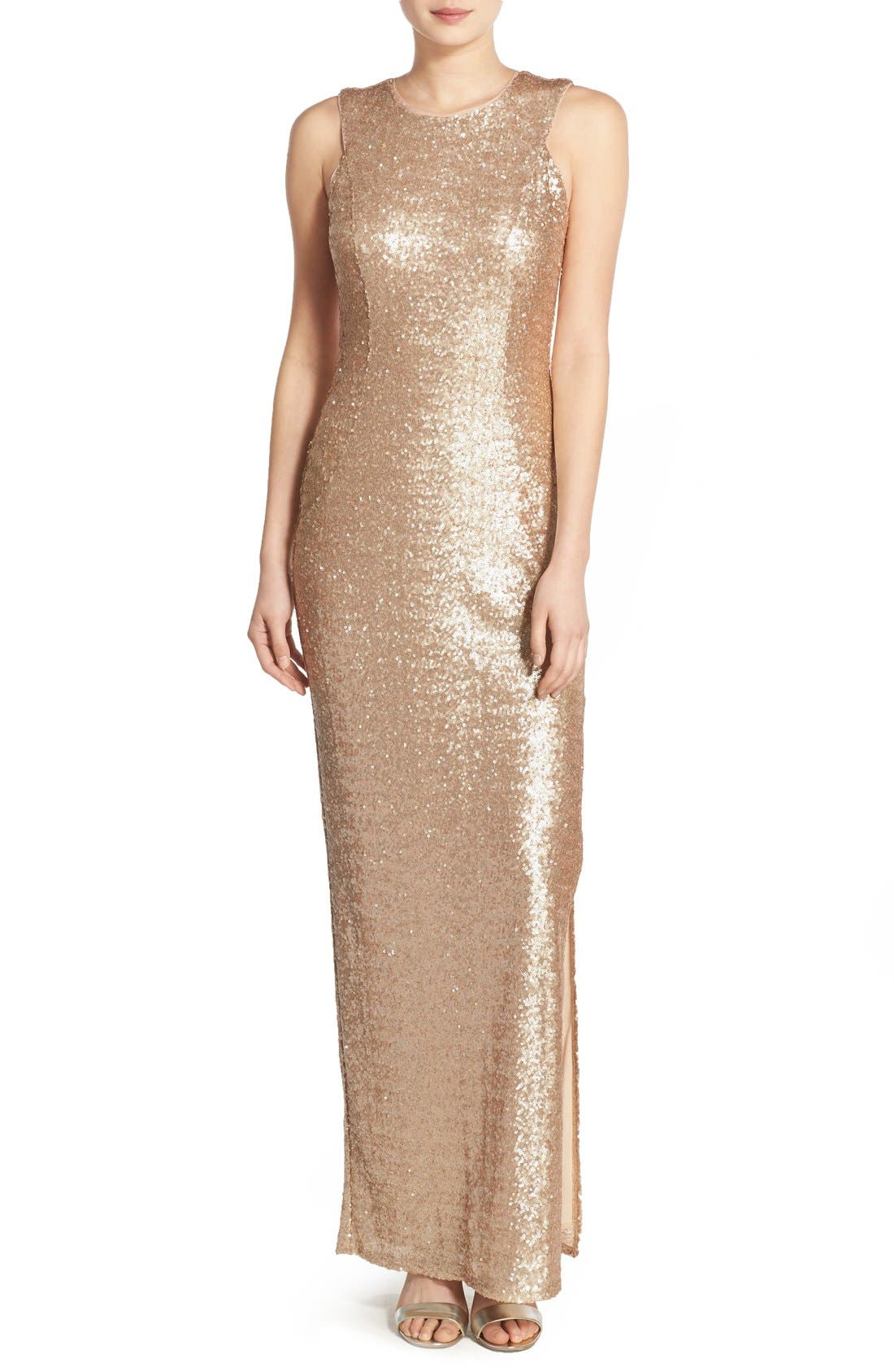 Main Image - Love, Nickie Lew Sequin Sleeveless Gown