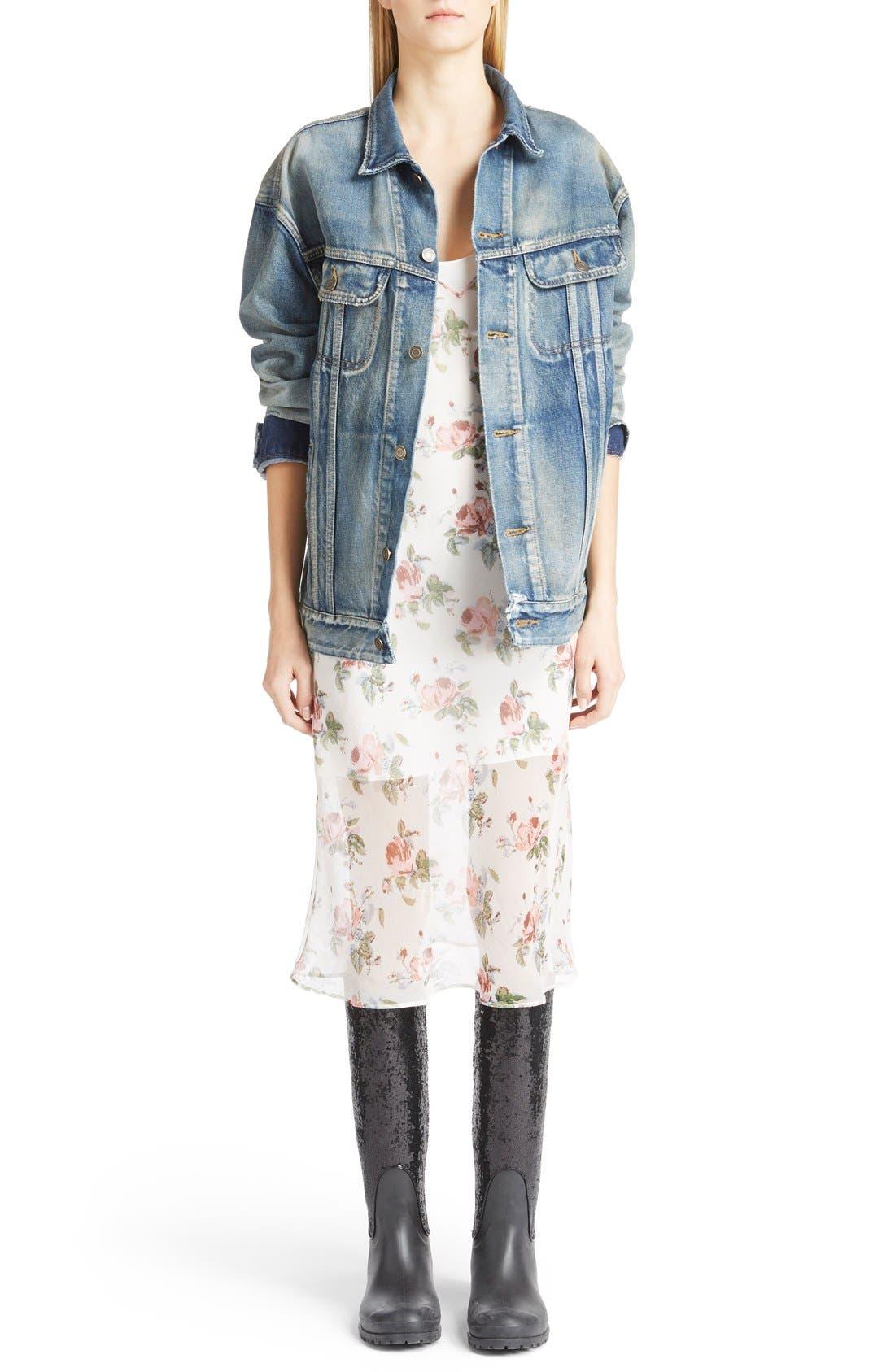 Alternate Image 1 Selected - Saint Laurent Oversize Vintage Wash Denim Jacket