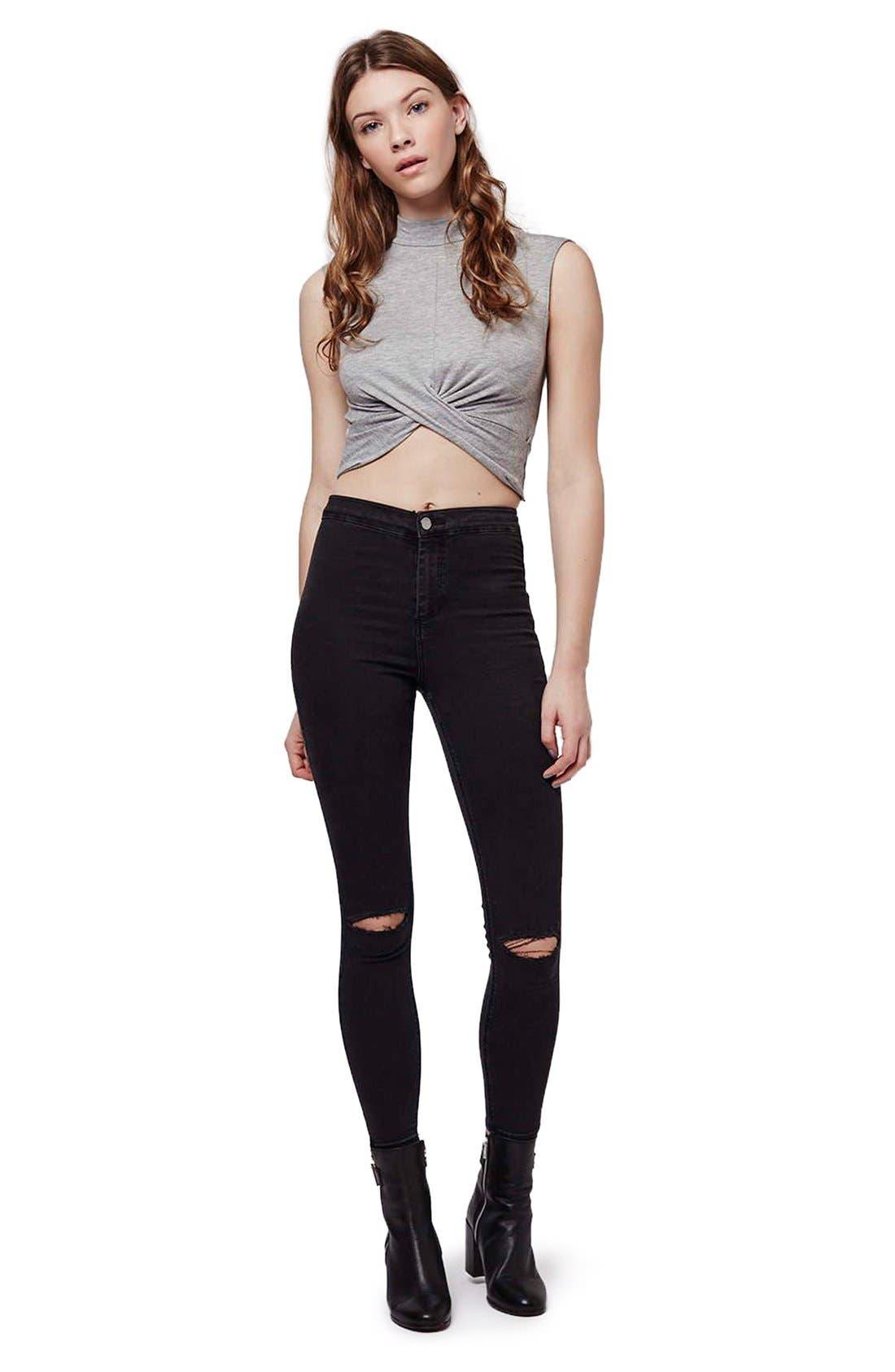 Alternate Image 2  - Topshop Moto 'Joni' Ripped High Rise Skinny Jeans (Petite)