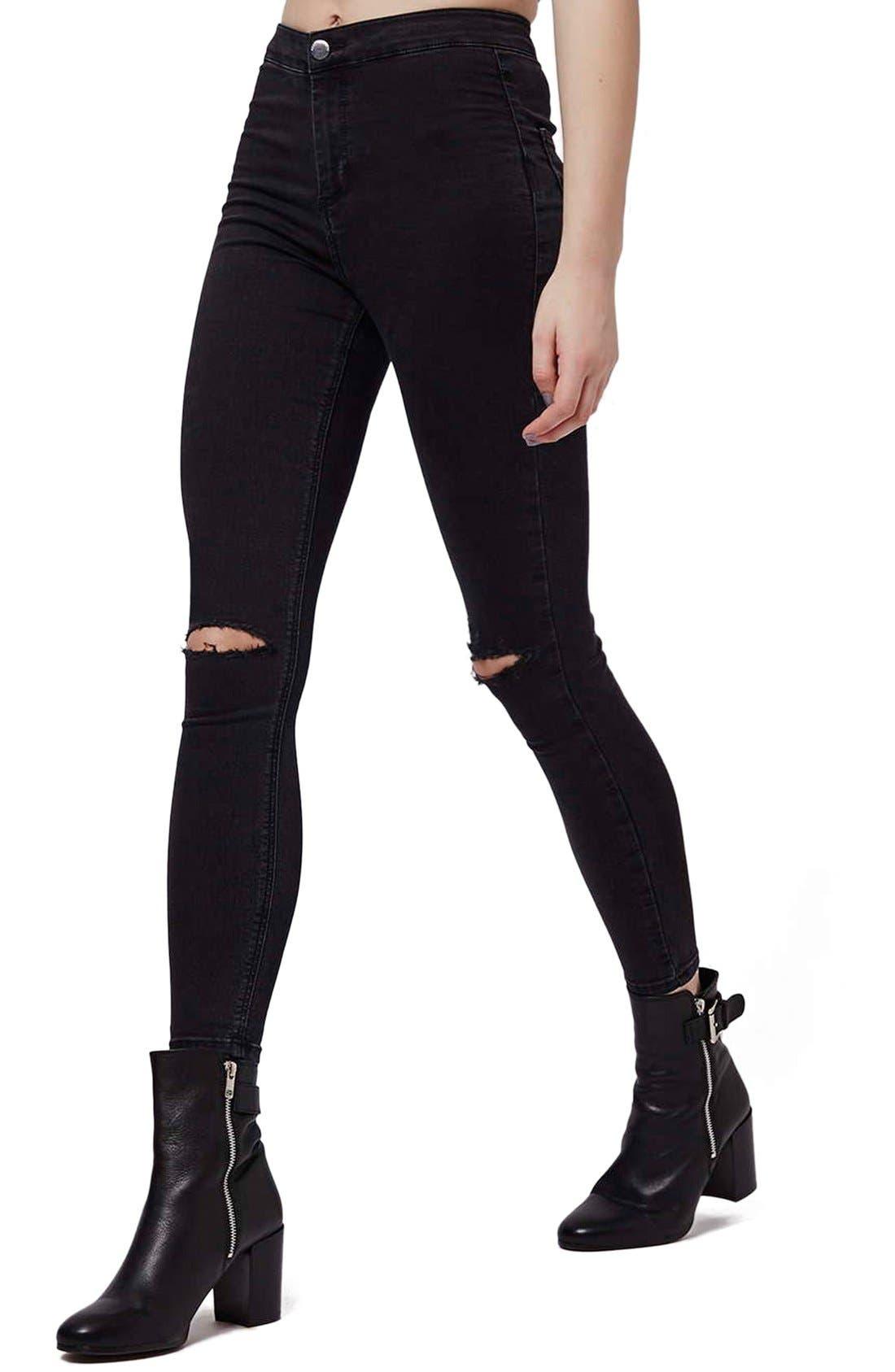 Alternate Image 1 Selected - Topshop Moto 'Joni' Ripped High Rise Skinny Jeans (Petite)