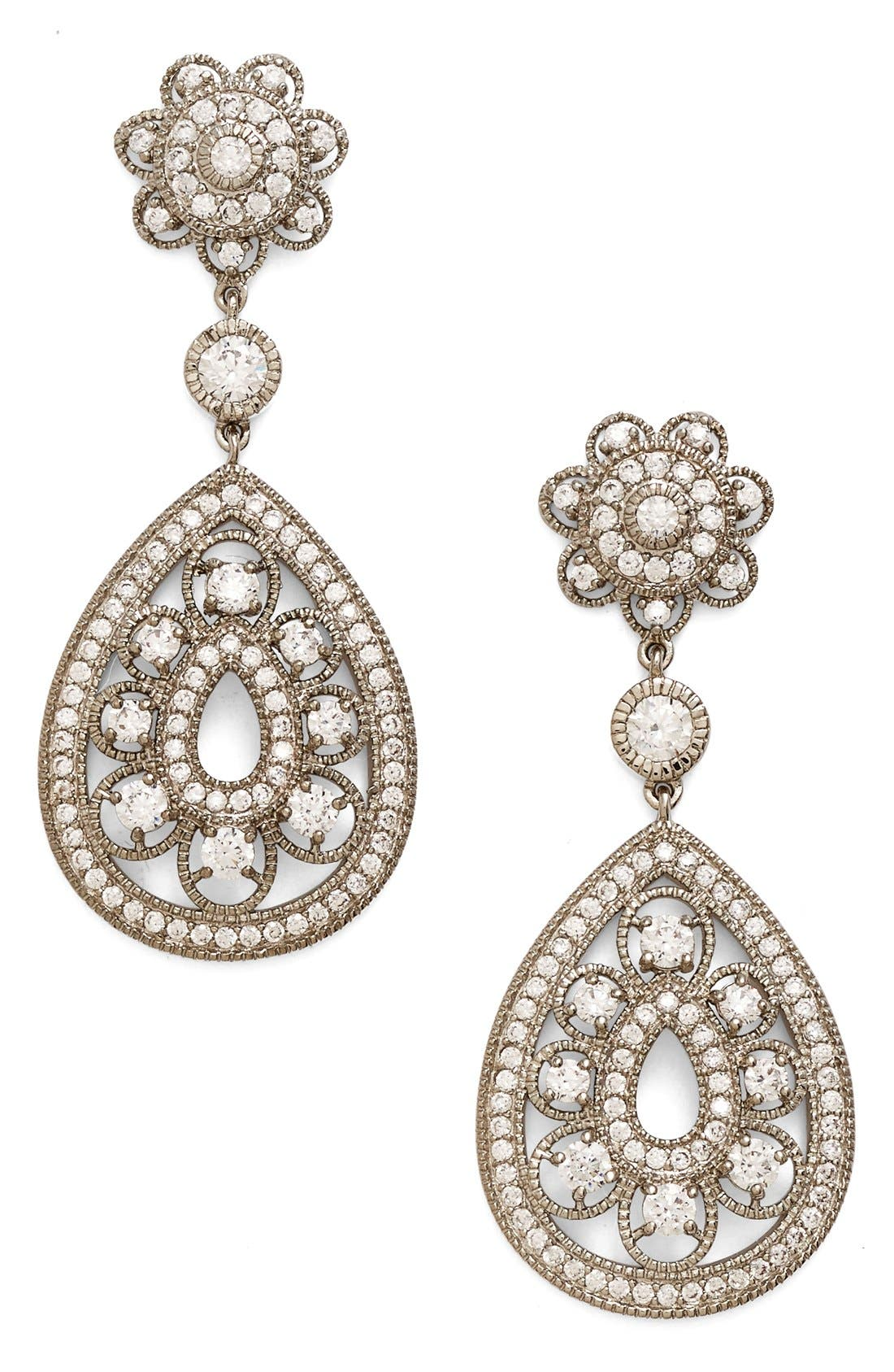 Nina Filigree Teardrop Crystal Earrings