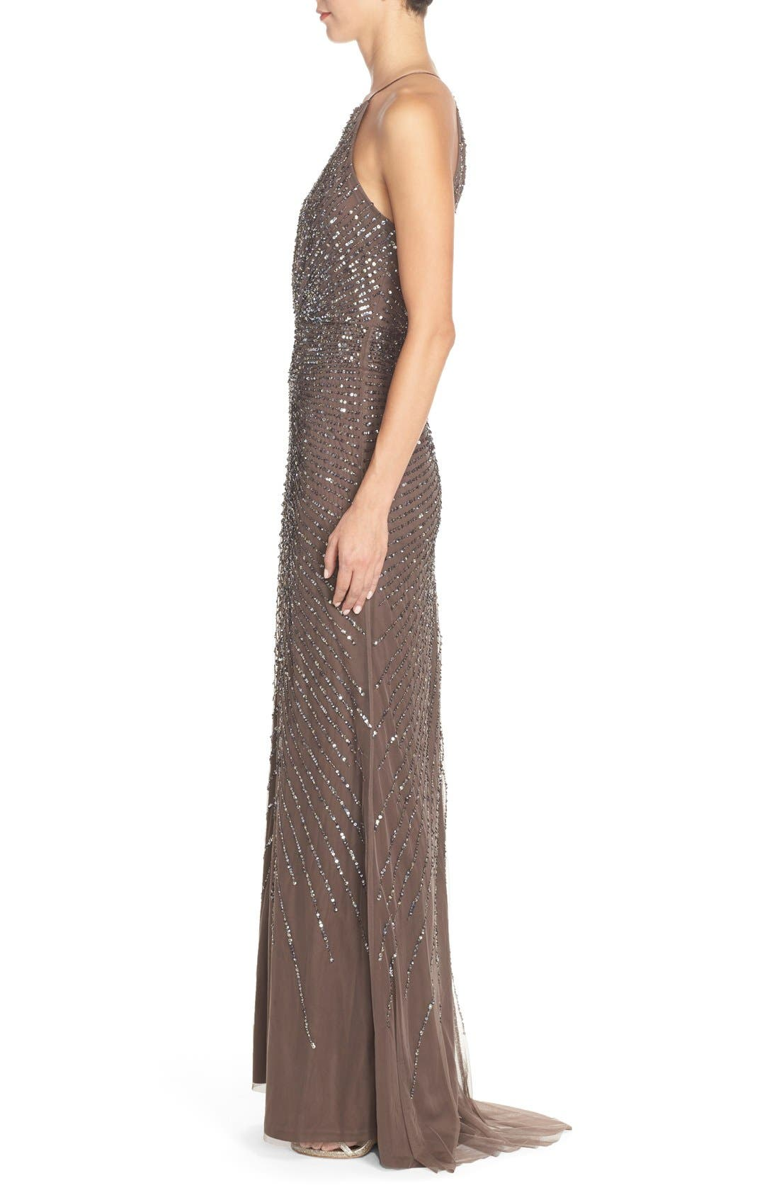 Alternate Image 3  - Adrianna Papell Beaded Mesh Fit & Flare Gown