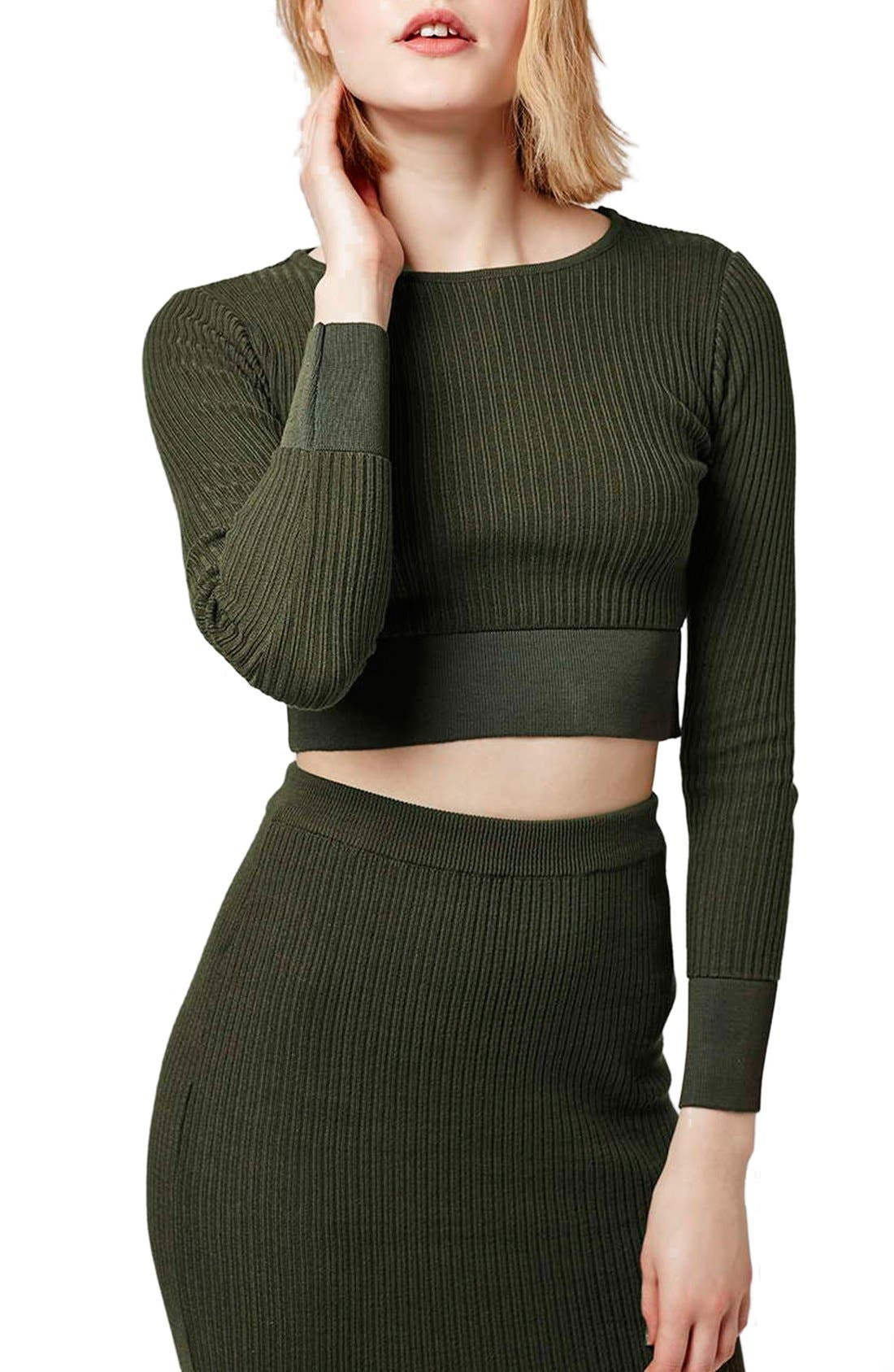 Main Image - Topshop Ribbed Crop Top