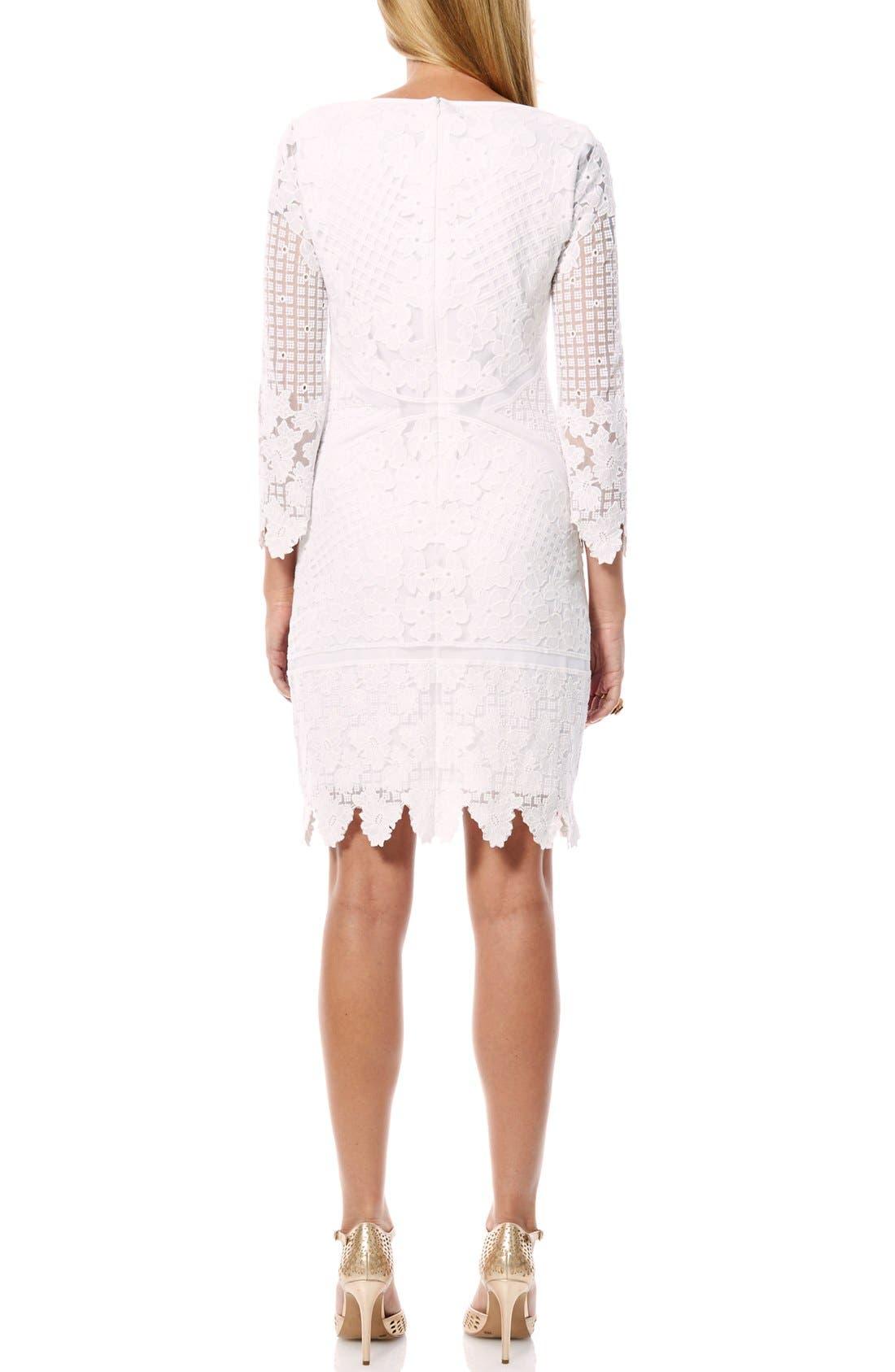 Alternate Image 2  - Laundry by Shelli Segal Embroidered Mesh Sheath Dress