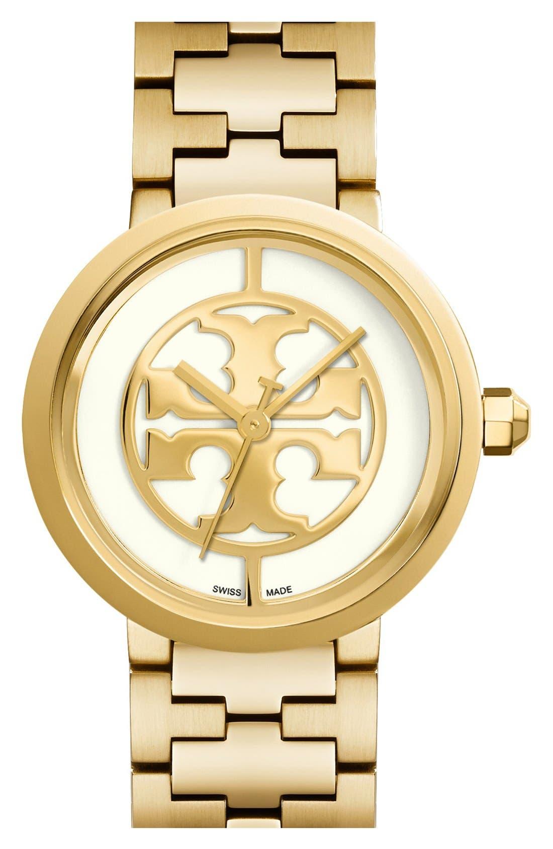 Tory Burch 'Reva' Logo Dial Bracelet Watch, 36mm