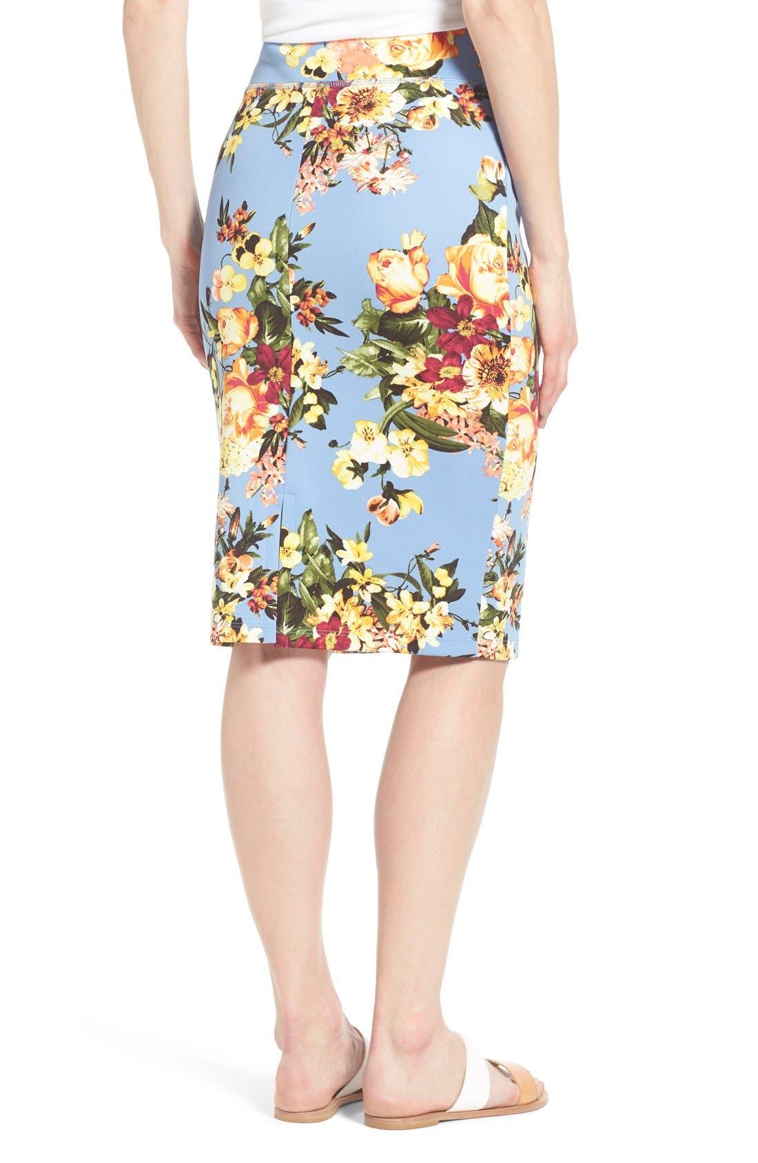 Alternate Image 2  - Bobeau Floral Print Pencil Skirt (Regular & Petite)