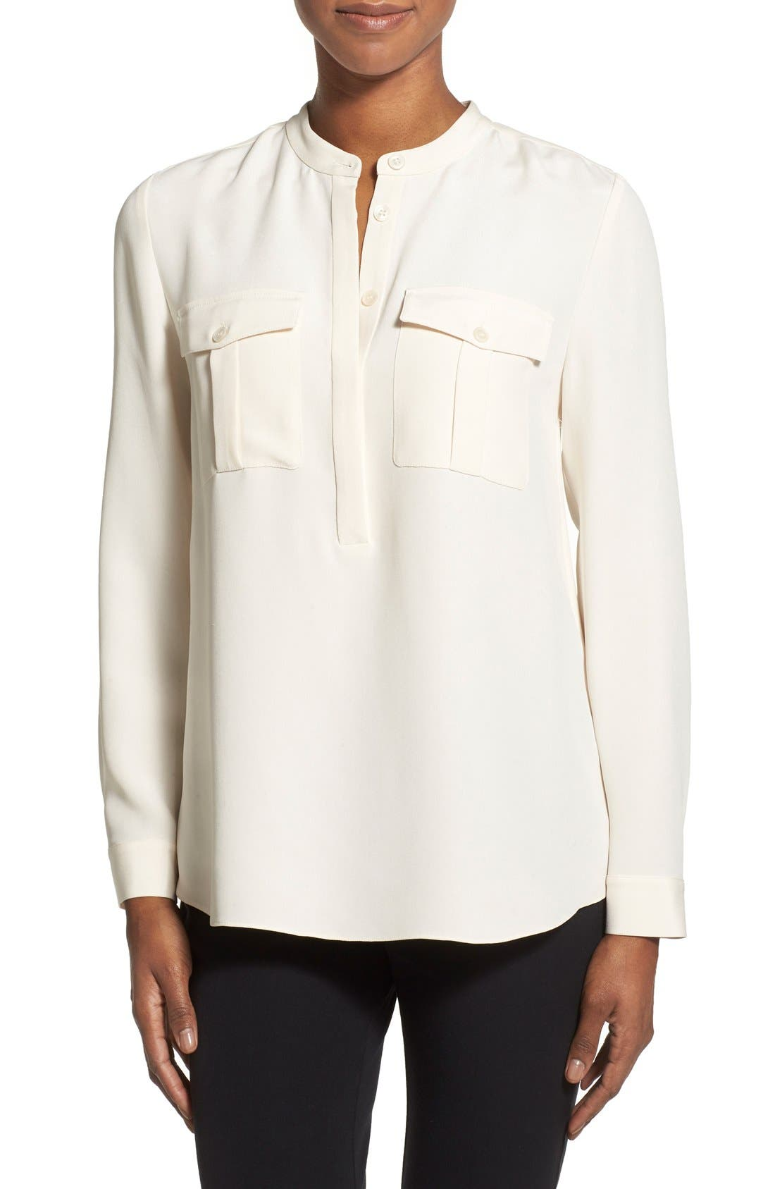 Main Image - Nordstrom Collection Sandwashed Silk Band Collar Blouse
