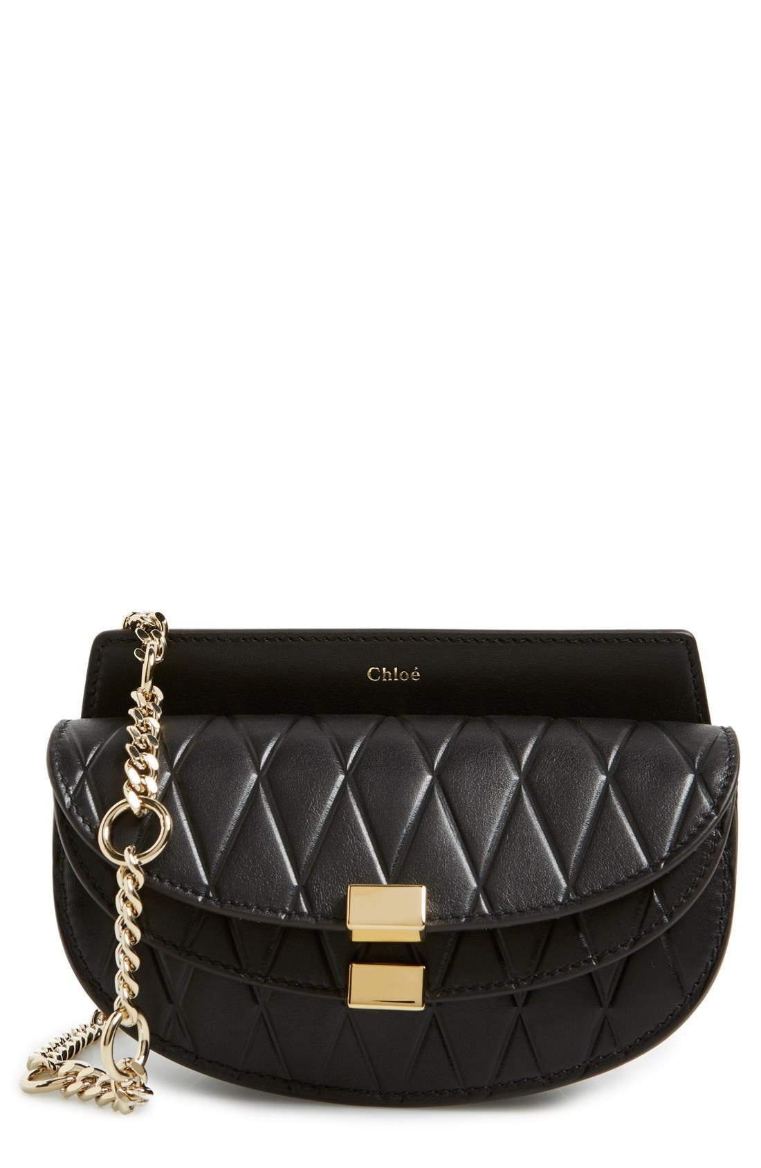 Main Image - Chloé 'Nano Georgia' Embossed Calfskin Leather Fanny Pack