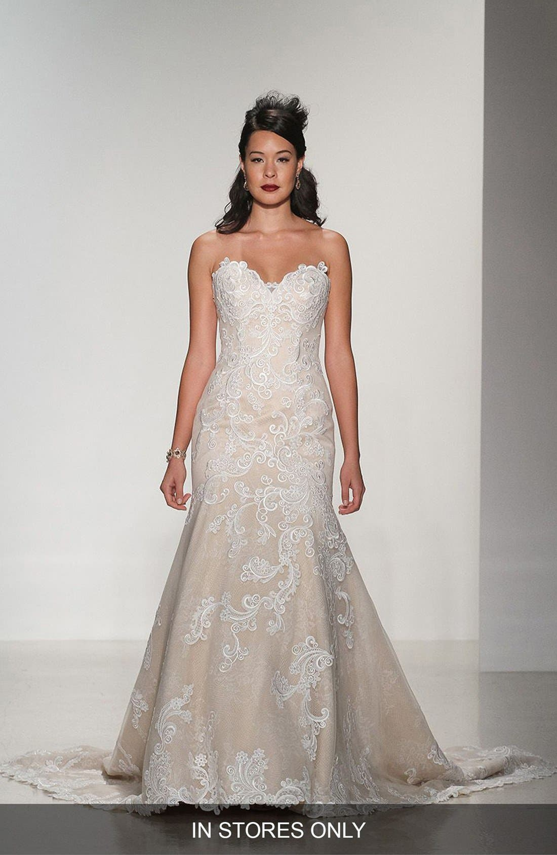 Matthew Christopher 'Daniella' Strapless Lace Trumpet Gown (In Stores Only)