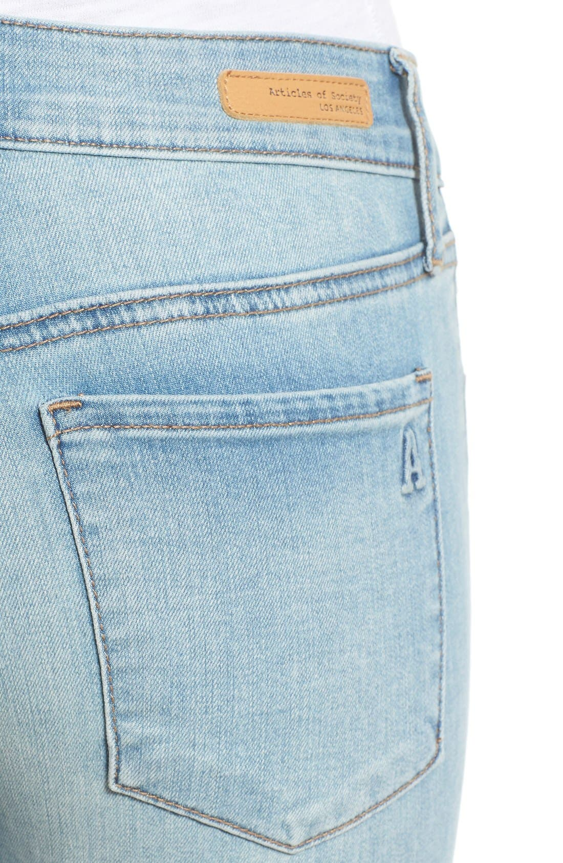 Alternate Image 4  - Articles of Society 'Mya' Skinny Jeans (Indigo Wash)