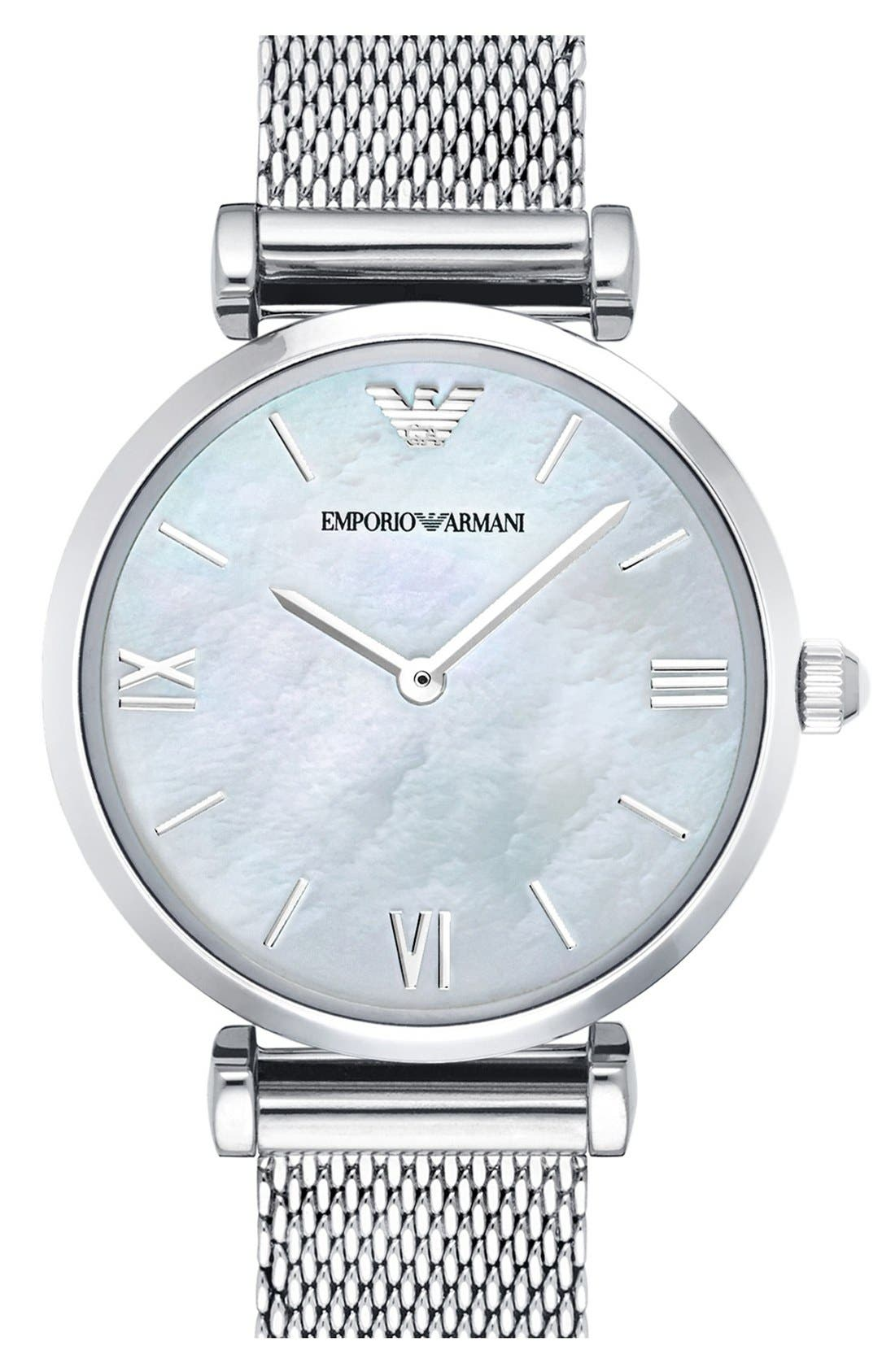 EMPORIO ARMANI Mesh Strap Watch, 32mm