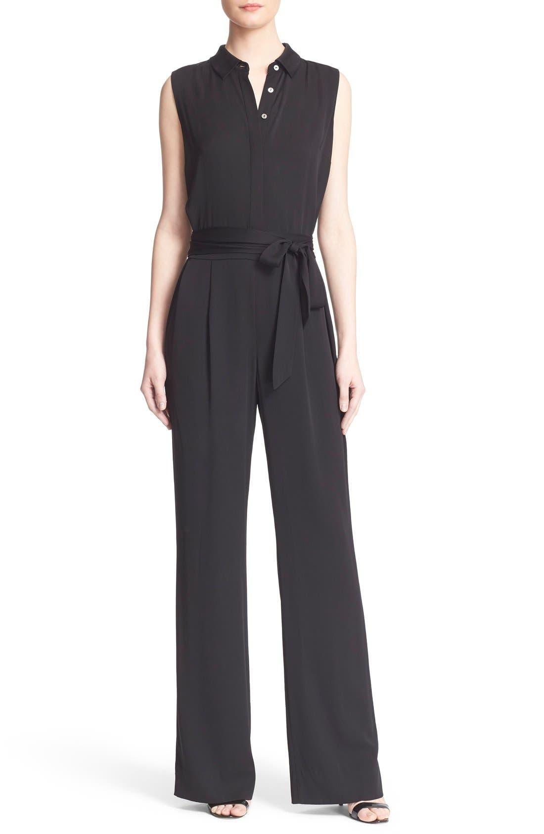Main Image - Diane von Furstenberg 'Traci' Stretch Silk Sleeveless Jumpsuit