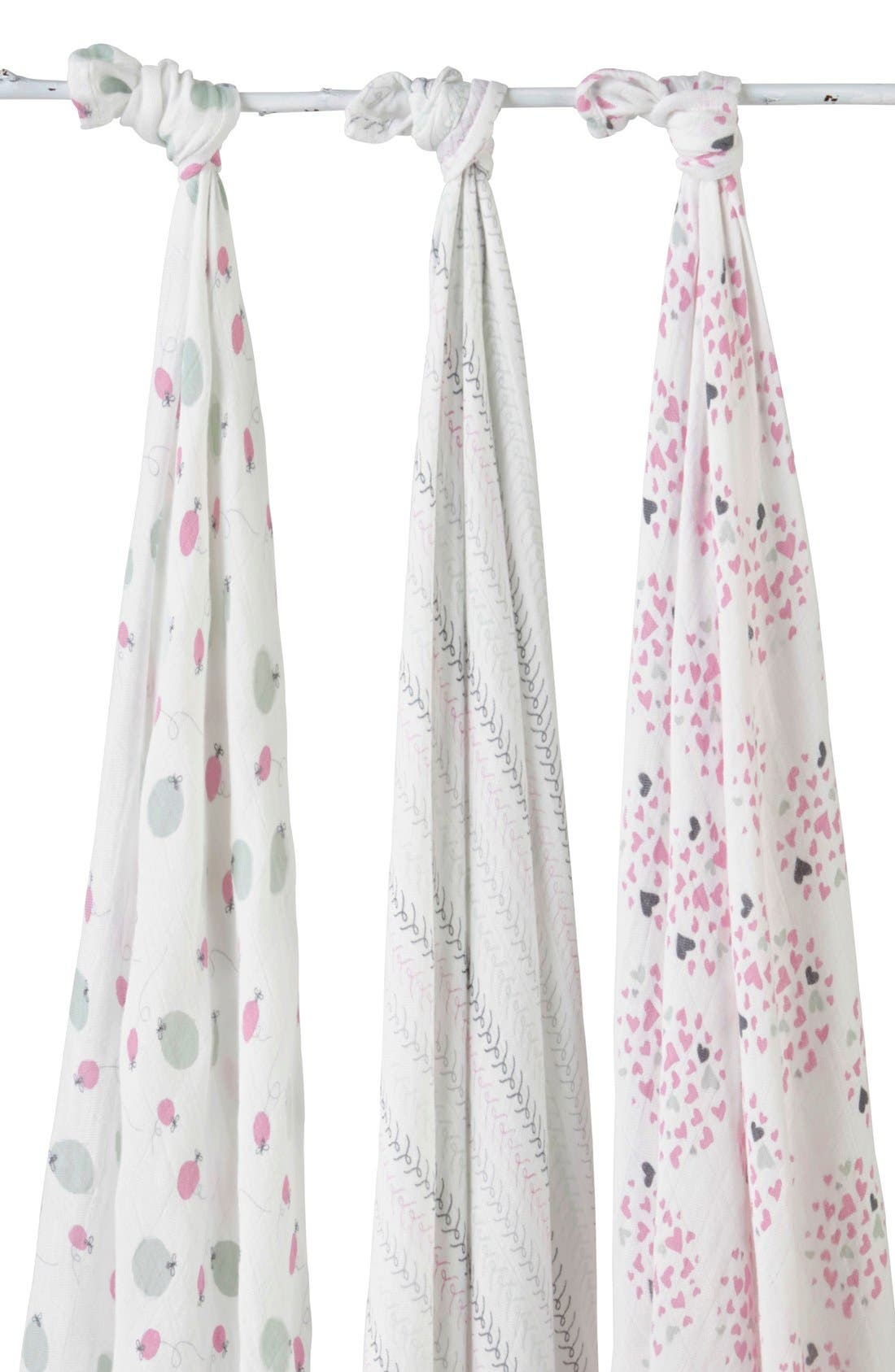 Main Image - aden + anais 'Hearts & Fireflies' Swaddling Cloths (3-Pack) (Nordstrom Exclusive)