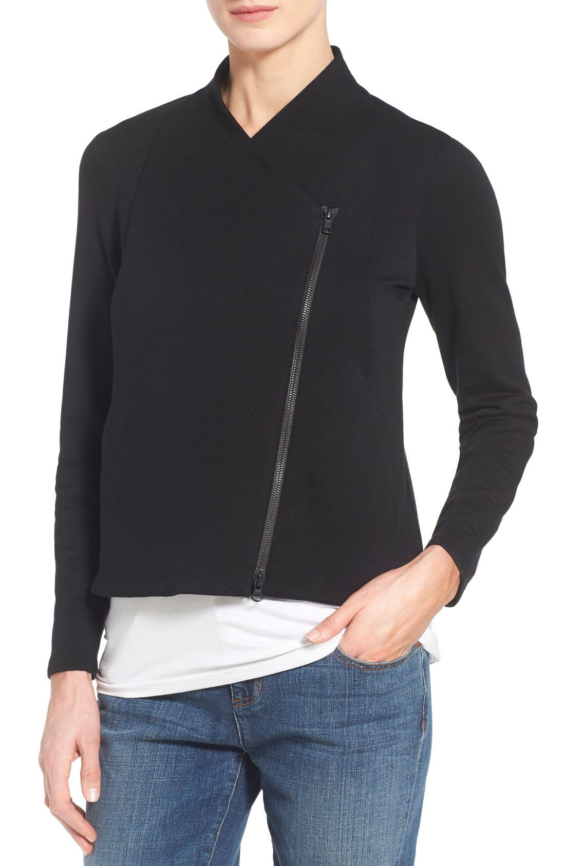 Alternate Image 4  - Eileen Fisher Tencel® Jersey High Collar Jacket (Regular & Petite)