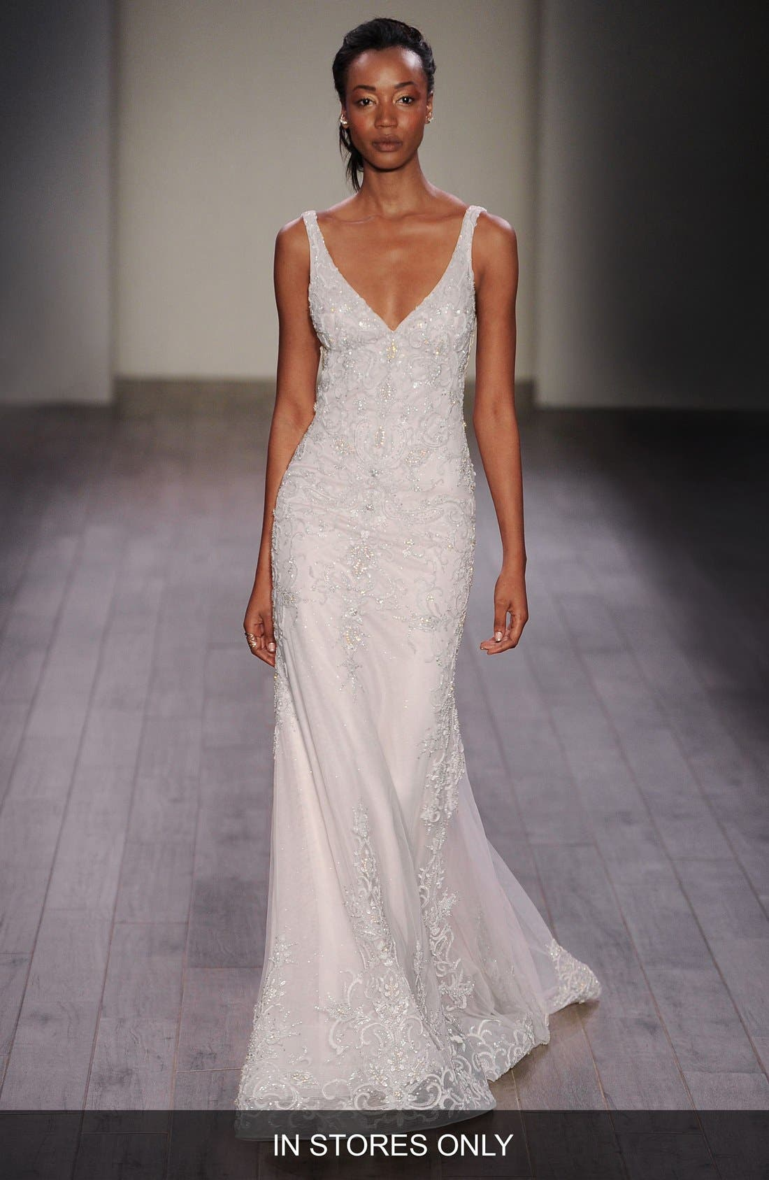 Lazaro Beaded V-Neck Slip Gown (In Stores Only)