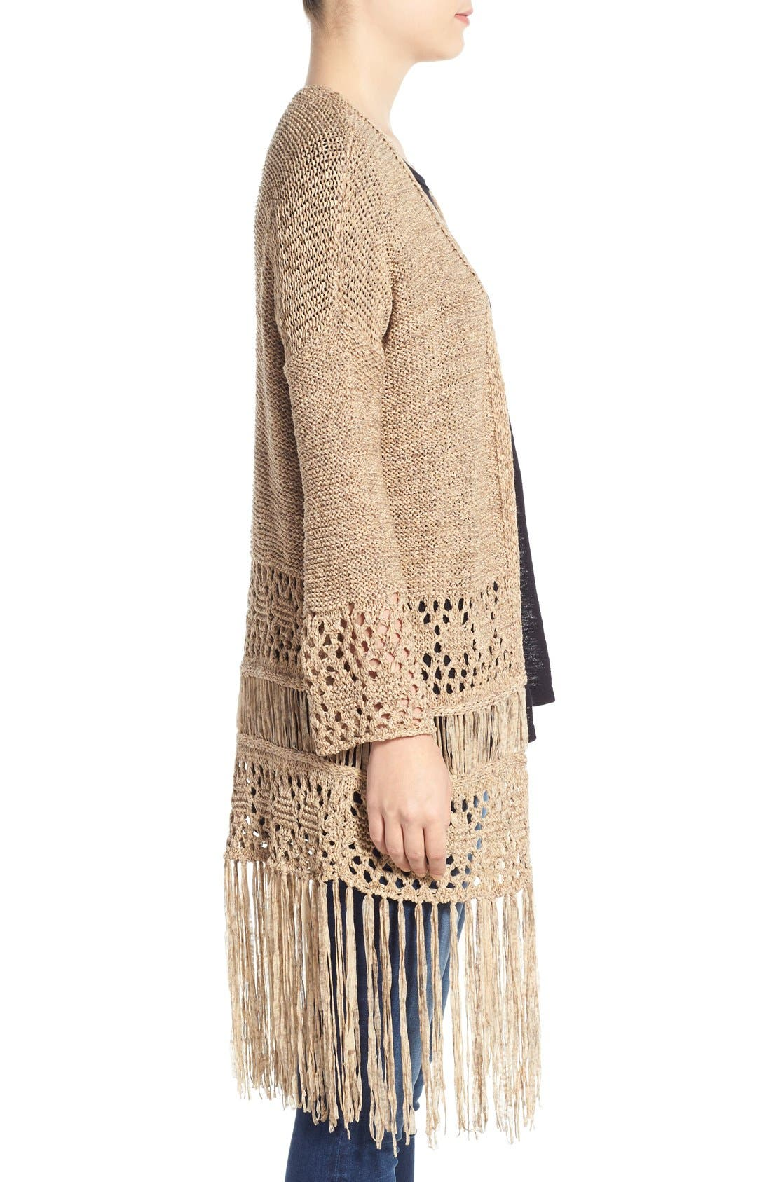 Alternate Image 3  - Dex Fringe Hem Tape Yarn Cardigan