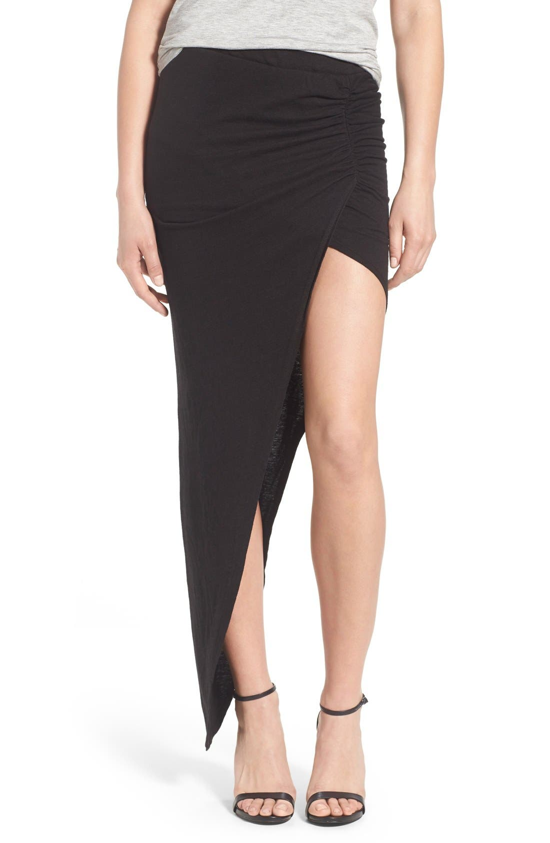 Alternate Image 1 Selected - Pam & Gela Ruched Asymmetrical Maxi Skirt