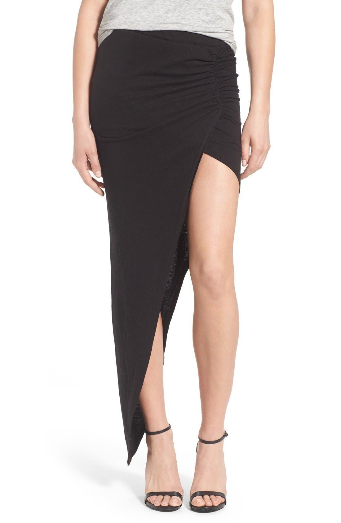 Main Image - Pam & Gela Ruched Asymmetrical Maxi Skirt