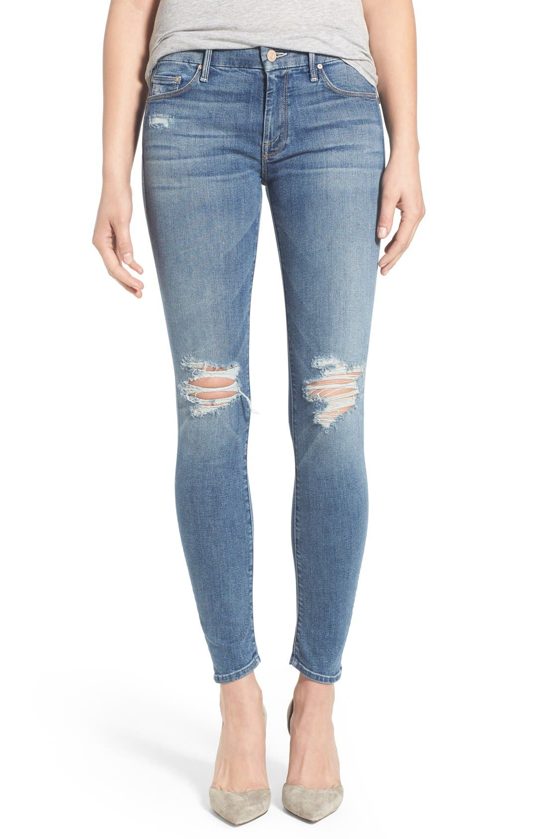 Alternate Image 1 Selected - MOTHER 'The Looker' Distressed Skinny Jeans (Cowboy)