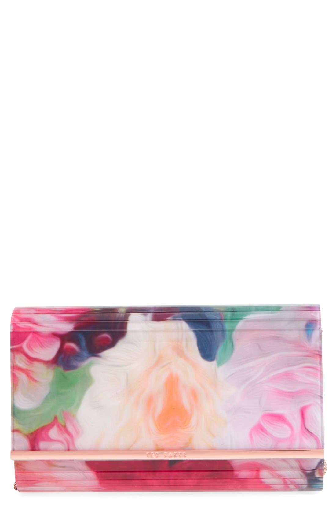 Alternate Image 1 Selected - Ted Baker London 'Floriza - Floral Swirl' Resin Flap Clutch