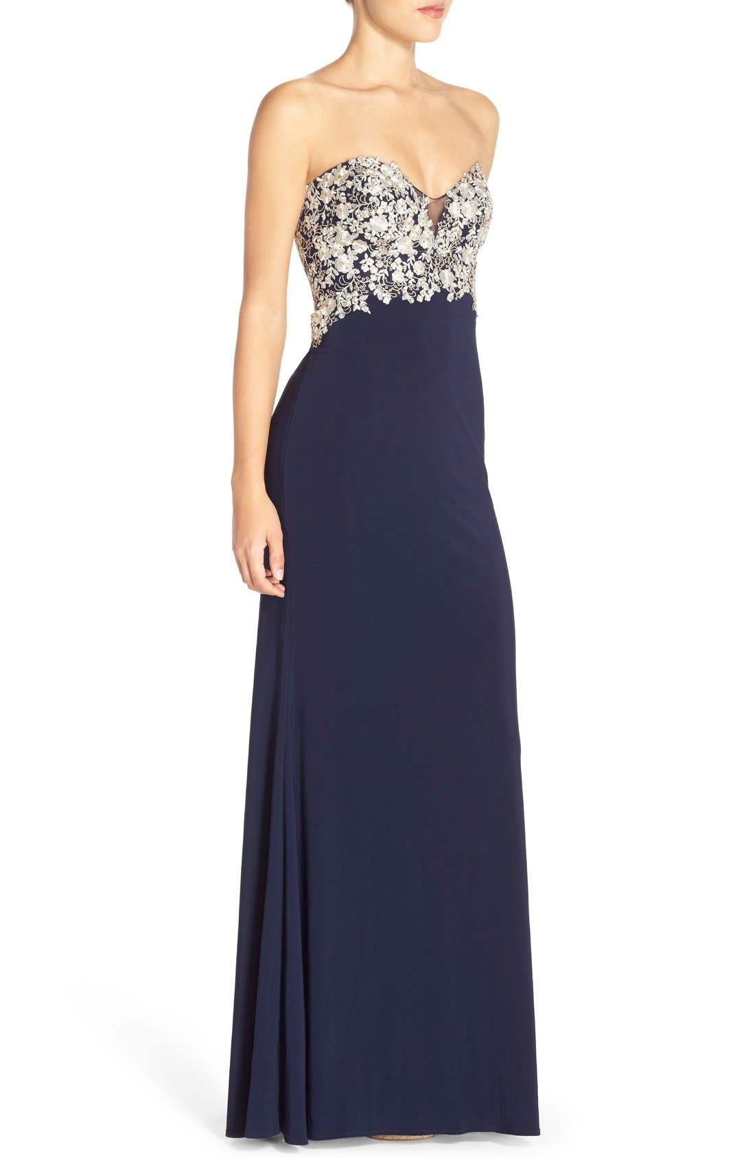 Alternate Image 3  - Faviana Embroidered Strapless Jersey Gown