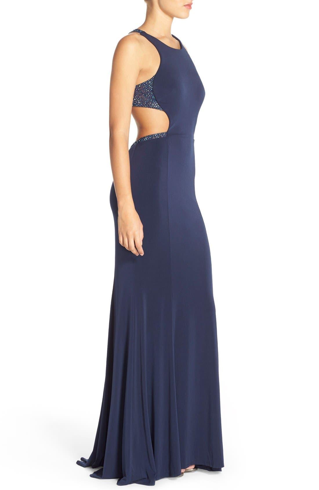 Alternate Image 3  - La Femme Embellished Illusion Jersey Gown