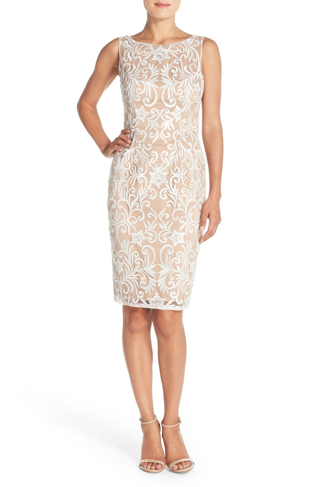 Alternate Image 4  - Adrianna Papell Sequin Embroidered Bateau Neck Sheath Dress