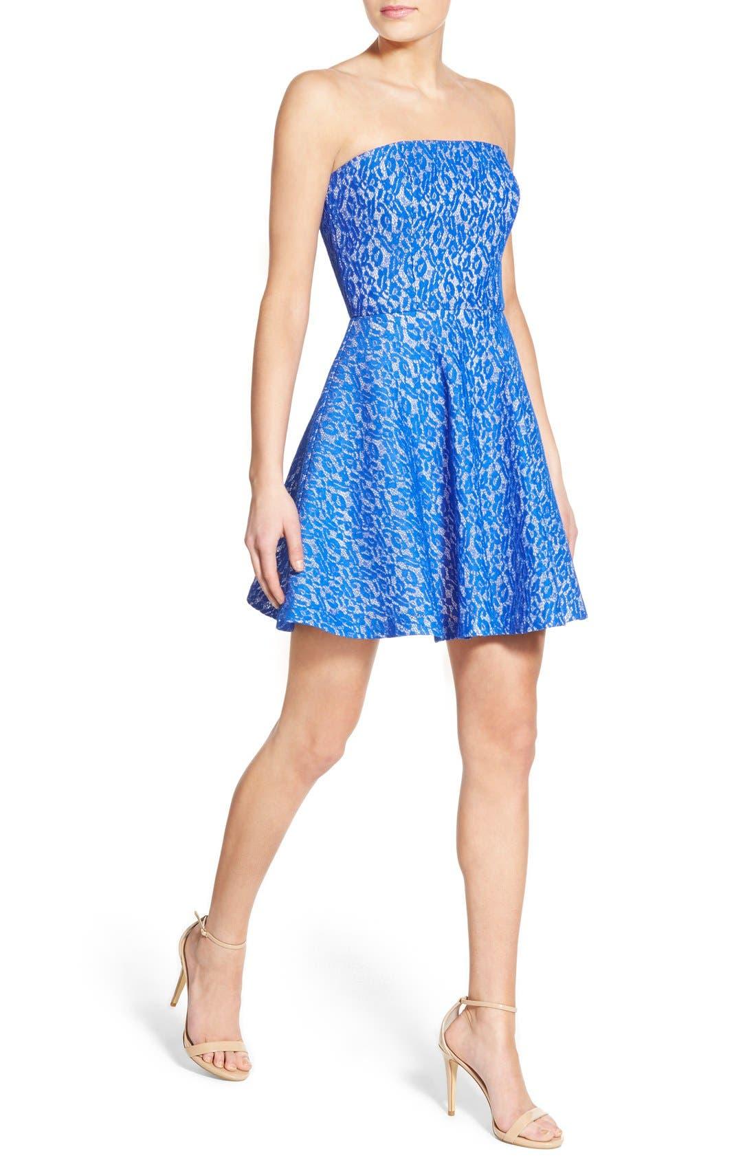 Alternate Image 4  - Soloiste Lace Strapless Skater Dress
