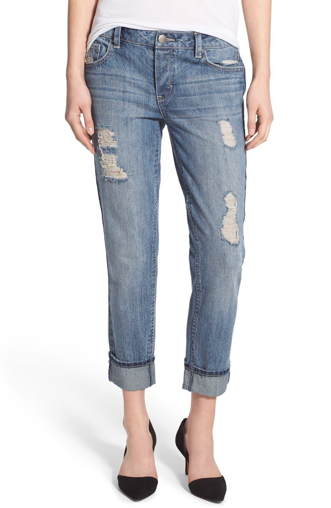 Alternate Image 1 Selected - Generra Distressed Slim Boyfriend Jeans (Carren)